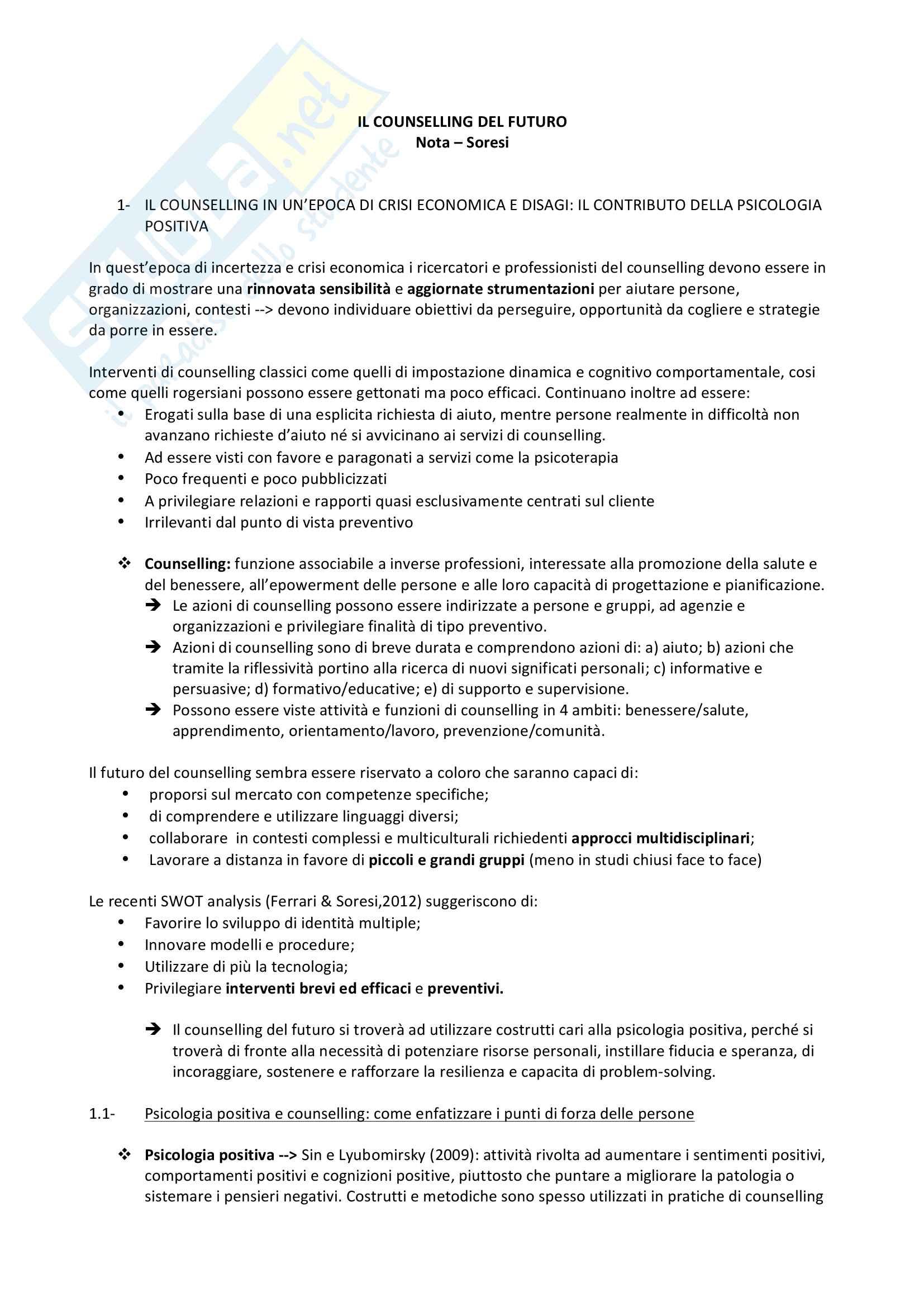 Riassunto esame Progettazione professionale e career counselling, testo consigliato Il counselling del futuro, Nota Soresi