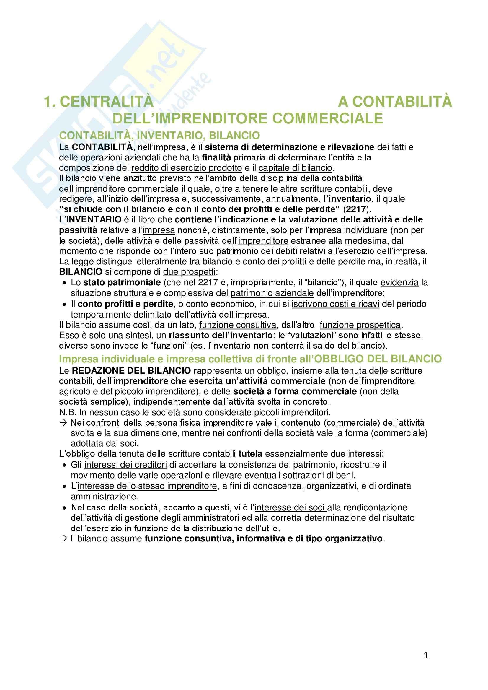 Riassunto esame Diritto commerciale, prof. Meruzzi, libro consigliato Il Bilancio, Tantini