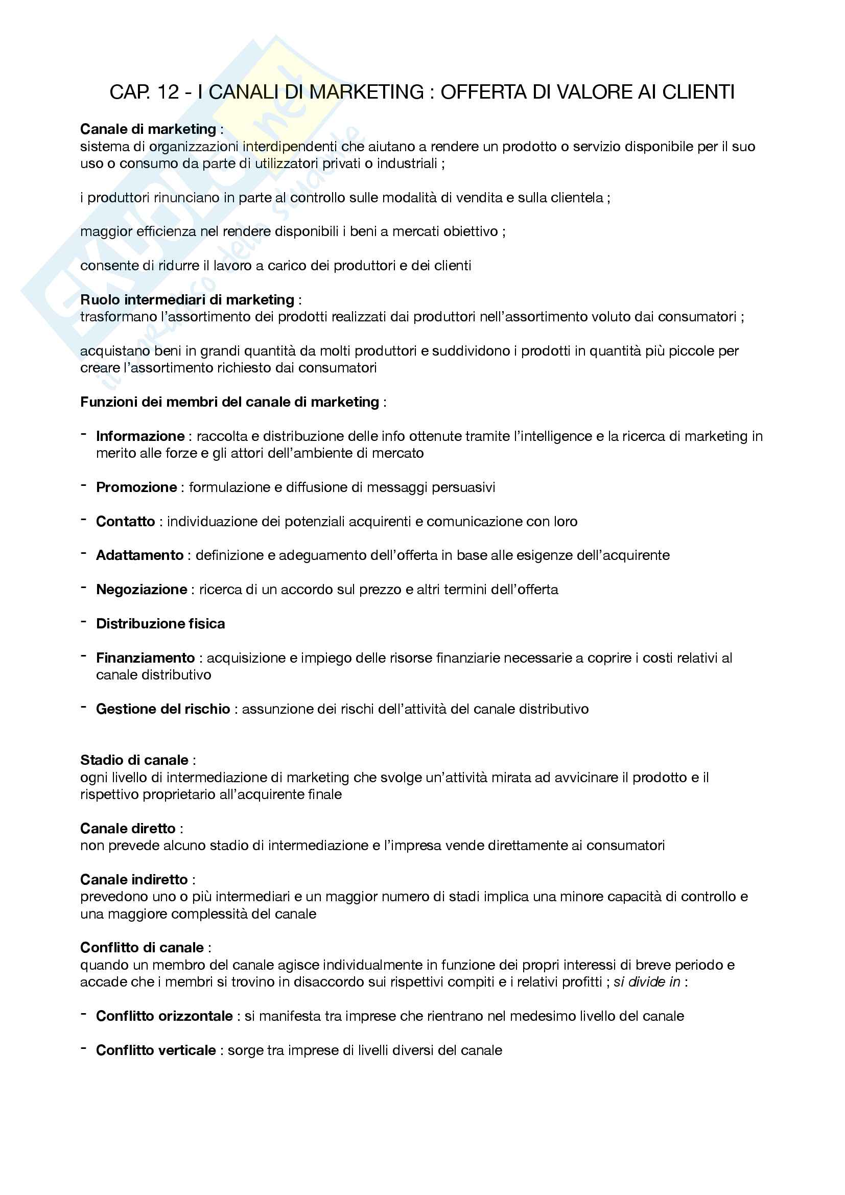 "Riassunto esame Marketing, prof. Silvia Grappi, libro consigliato ""Principi di Marketing"" di Kotler, Armstrong Pag. 26"
