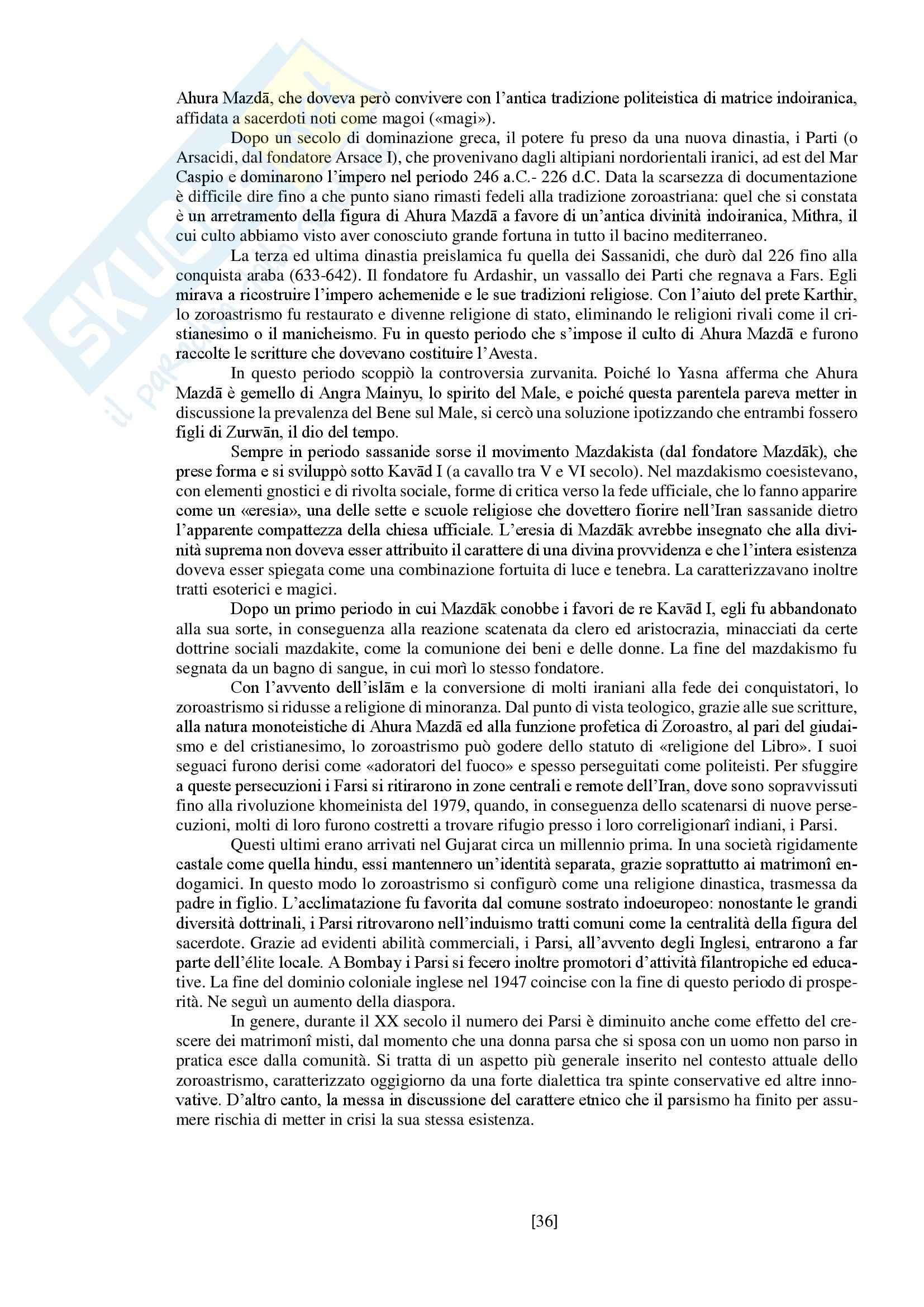"""Riassunto esame storia delle religioni, prof. Spineto, libro consigliato """"Manuale di storia delle religioni"""" di G. Filoramo, M. Massenzio, M. Raveri, P. Scarpi Pag. 36"""
