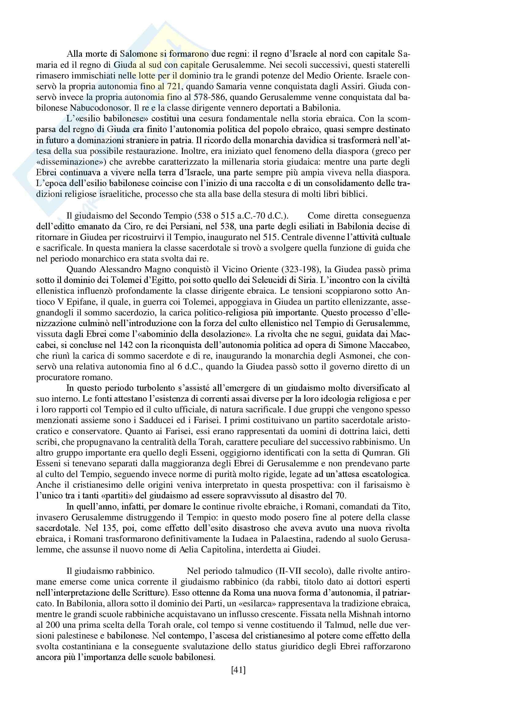 """Riassunto esame storia delle religioni, prof. Spineto, libro consigliato """"Manuale di storia delle religioni"""" di G. Filoramo, M. Massenzio, M. Raveri, P. Scarpi Pag. 41"""