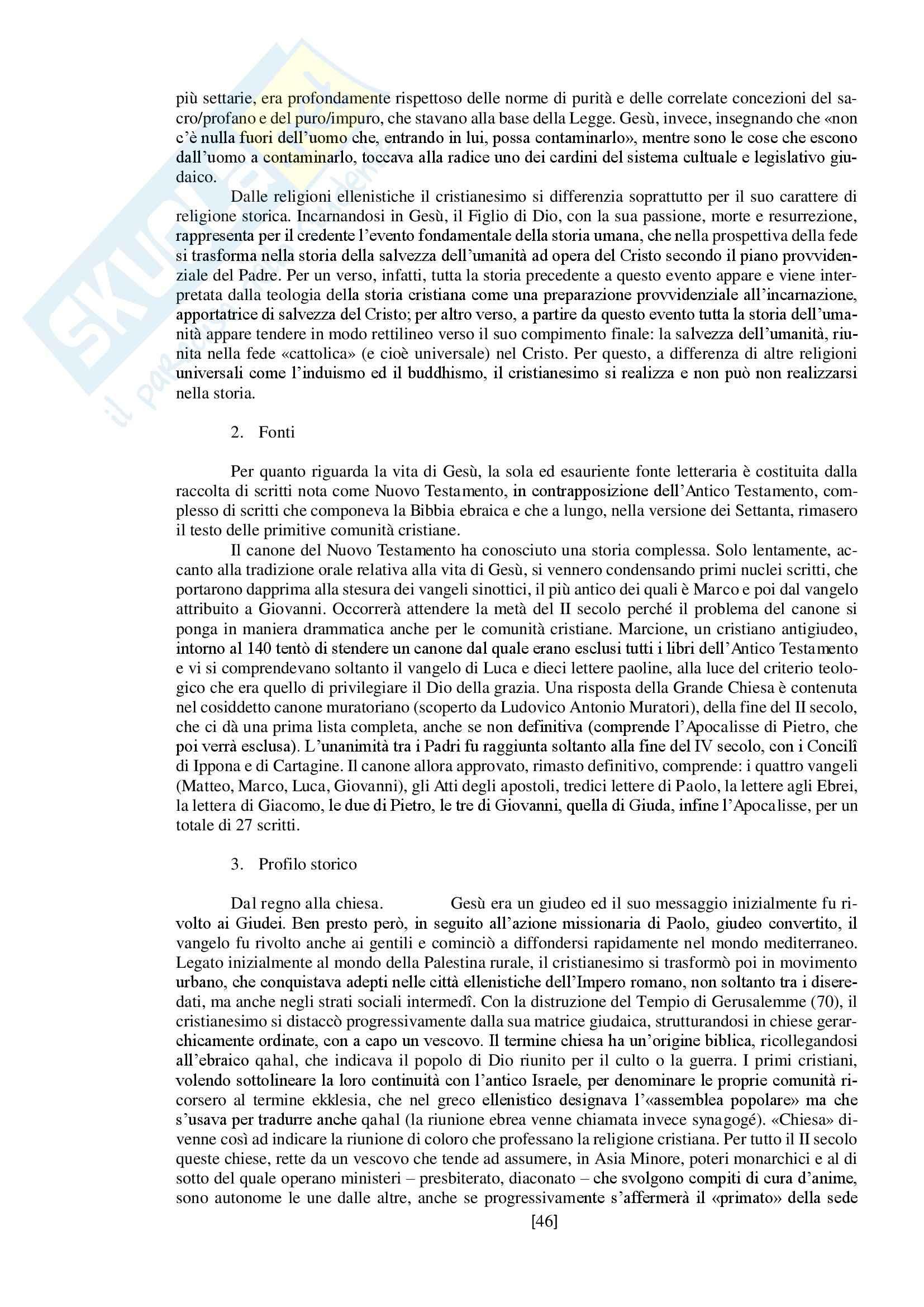 """Riassunto esame storia delle religioni, prof. Spineto, libro consigliato """"Manuale di storia delle religioni"""" di G. Filoramo, M. Massenzio, M. Raveri, P. Scarpi Pag. 46"""