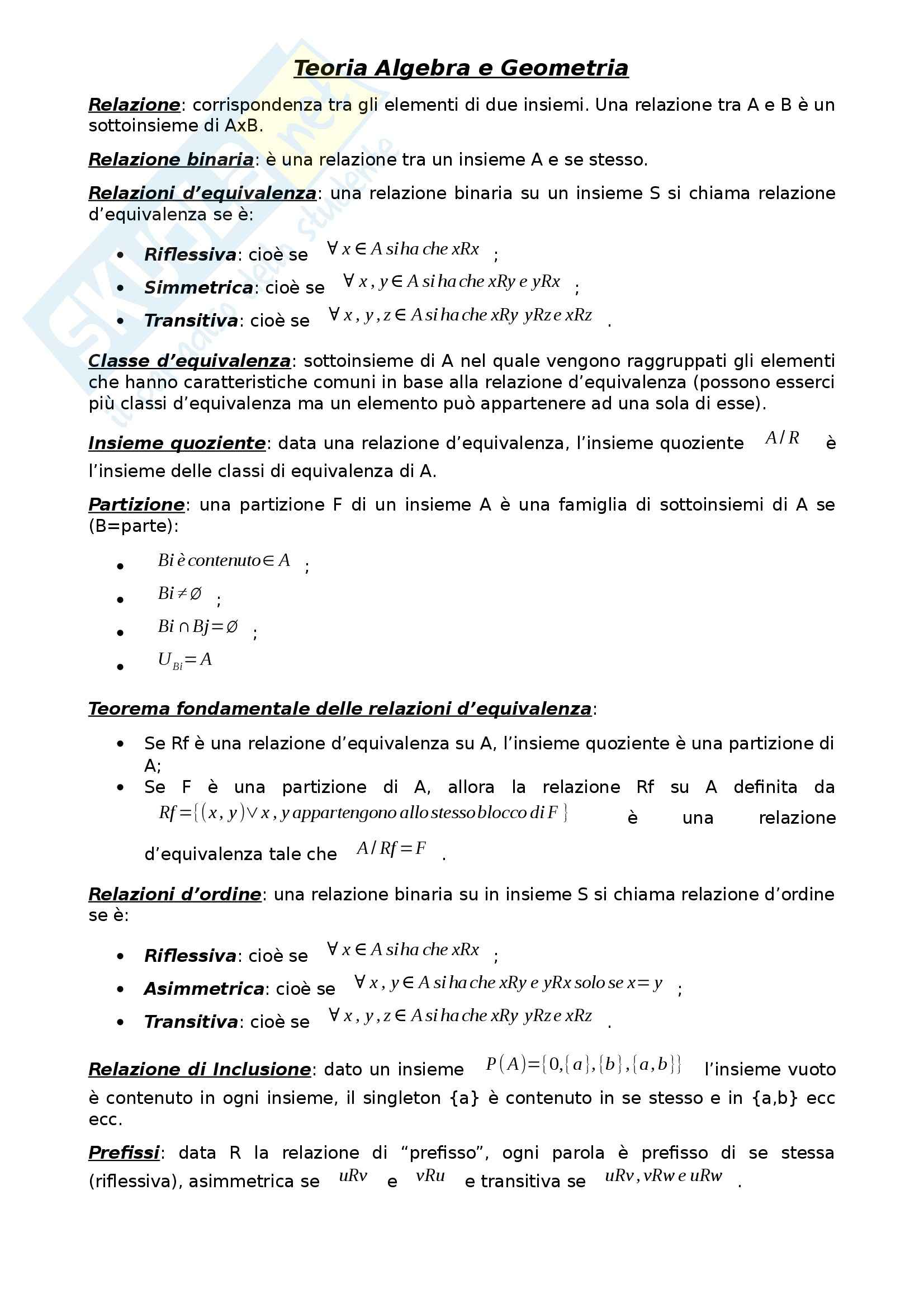 Algebra e Geometria - Appunti