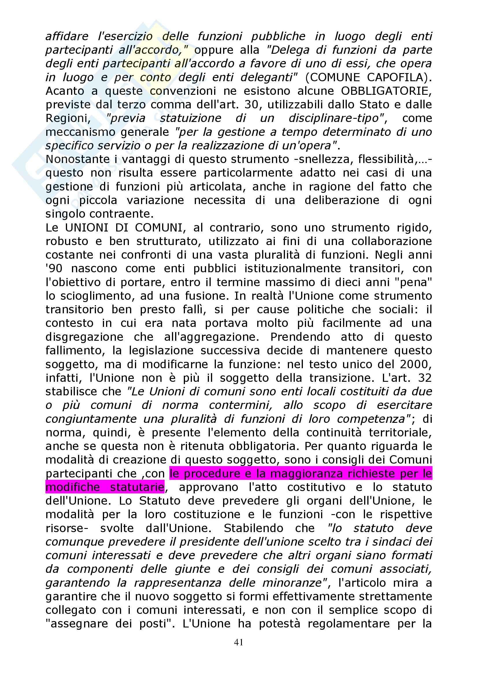 Diritto regionale - l'evoluzione storica delle autonomie locali Pag. 41