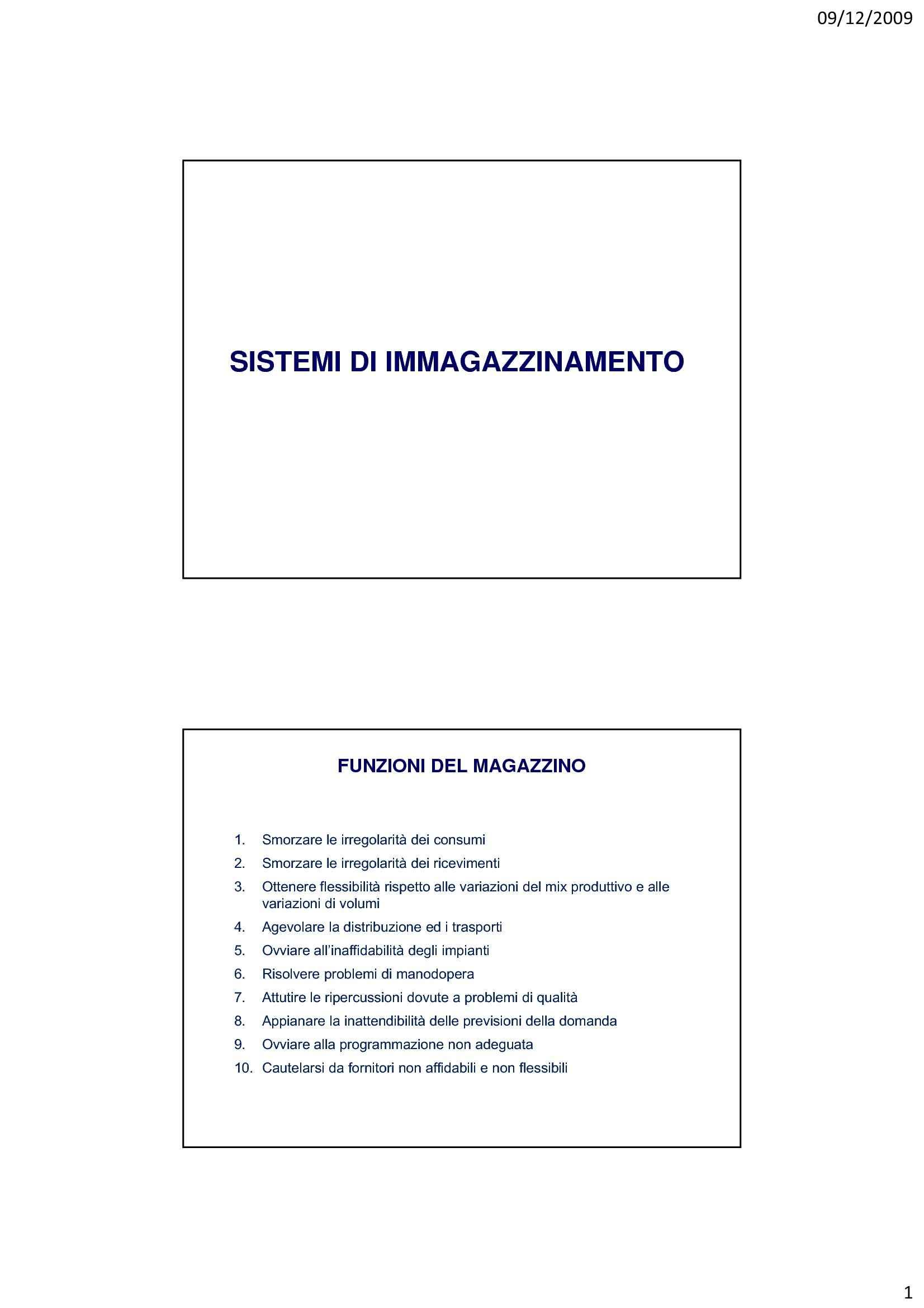 Magazzino - Sistemi di imagazzinamento e criteri di progettazione