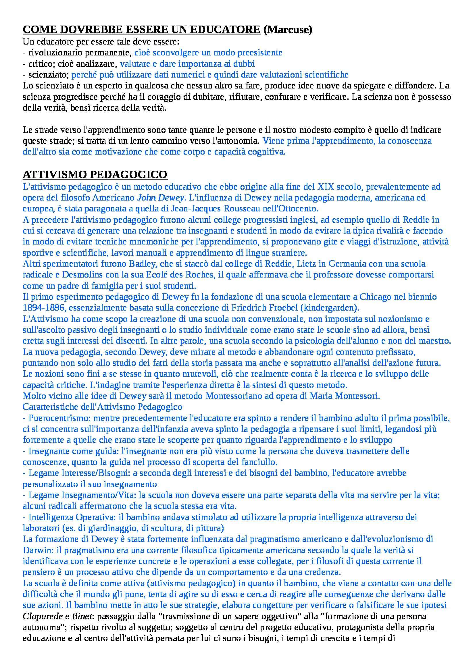 Teoria e metodologia del movimento umano - Appunti seconda parte