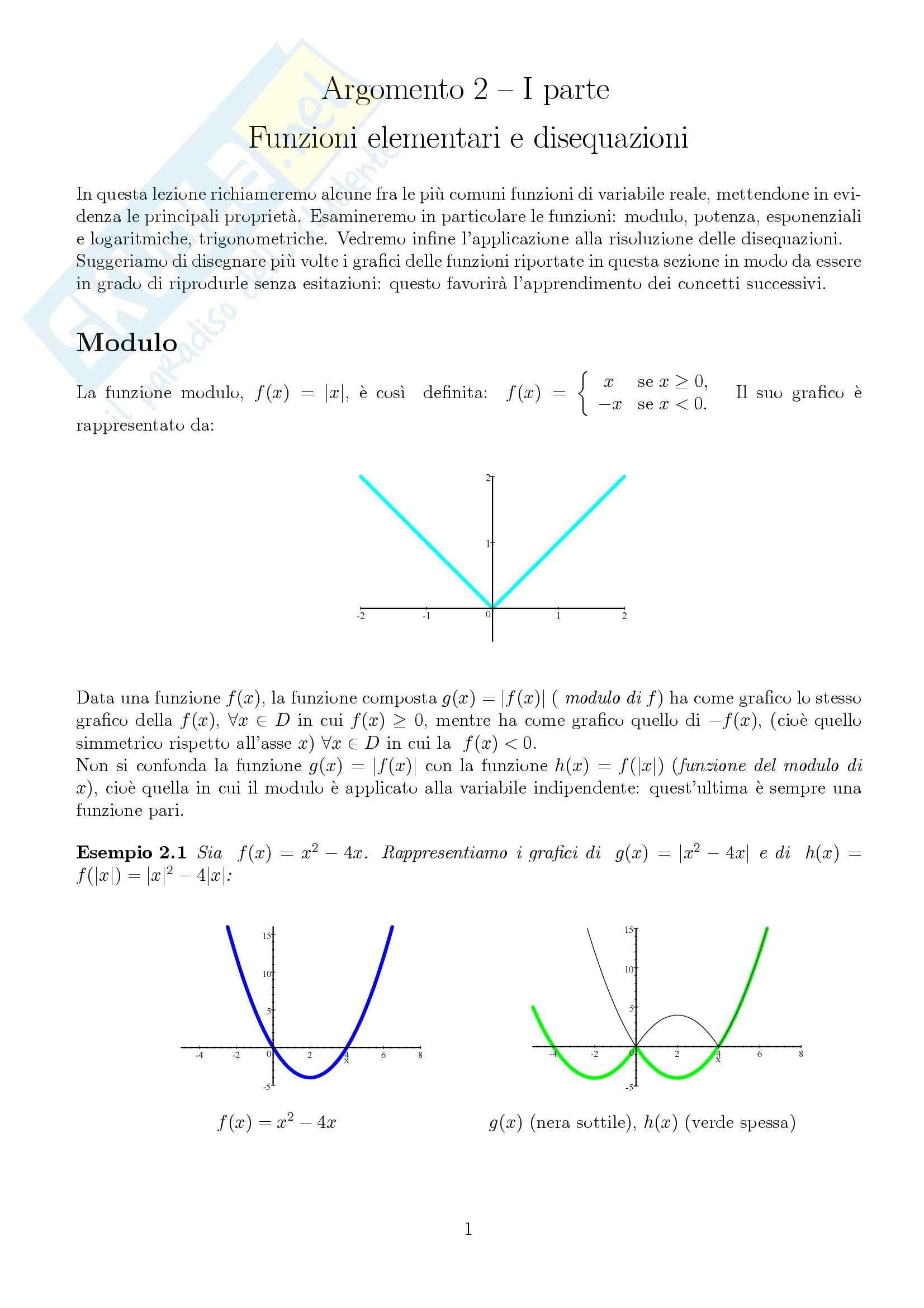 Funzioni elementari e disequazioni