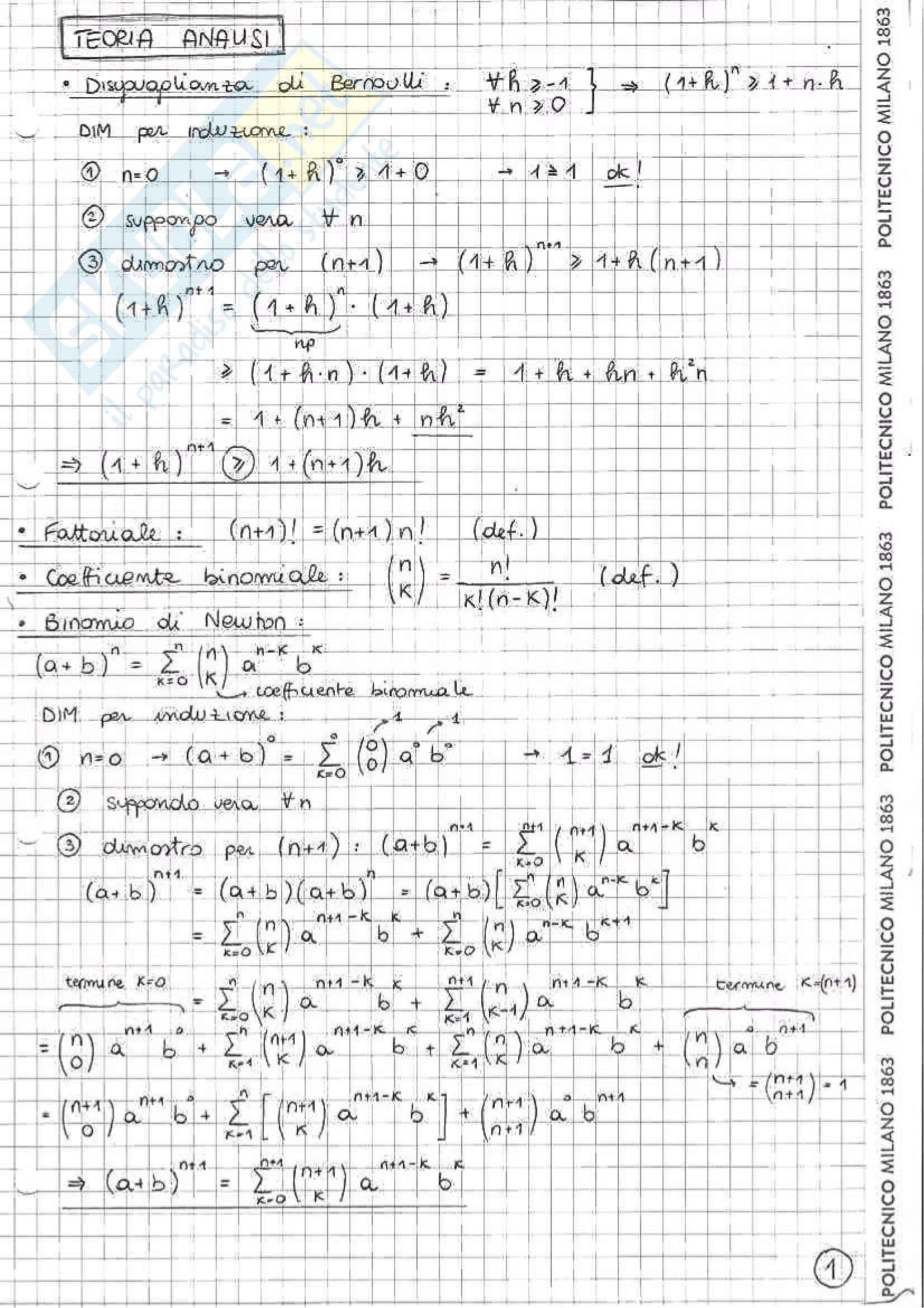 Appunti per passare l'esame di Analisi Matematica 1