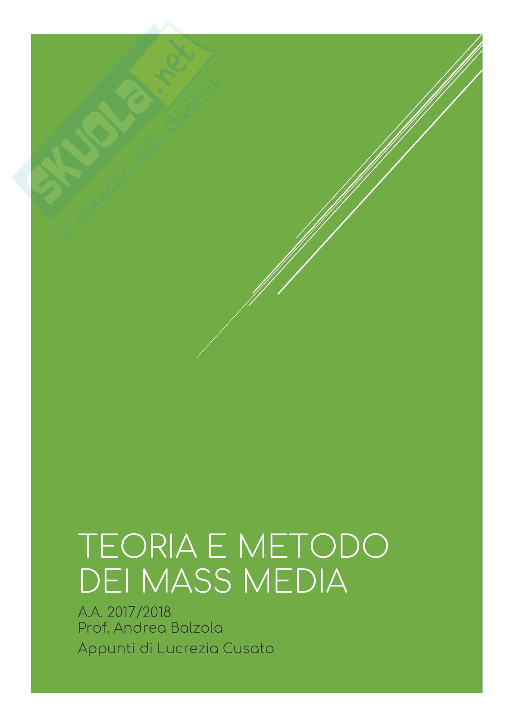 Riassunti di Teoria e metodo dei mass media