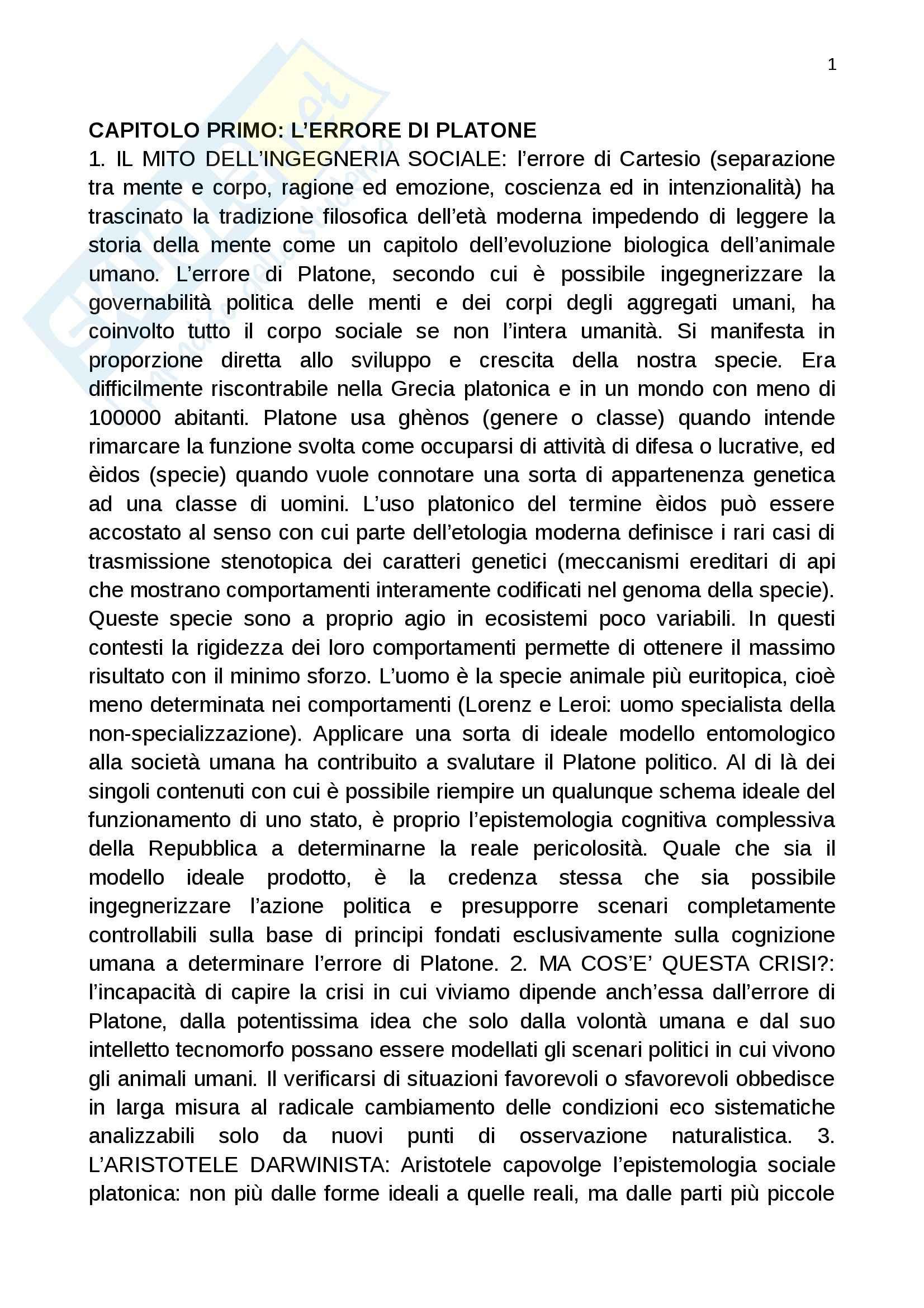 Riassunto esame Filosofia del linguaggio, prof. Pennisi, libro consigliato L'errore di Platone