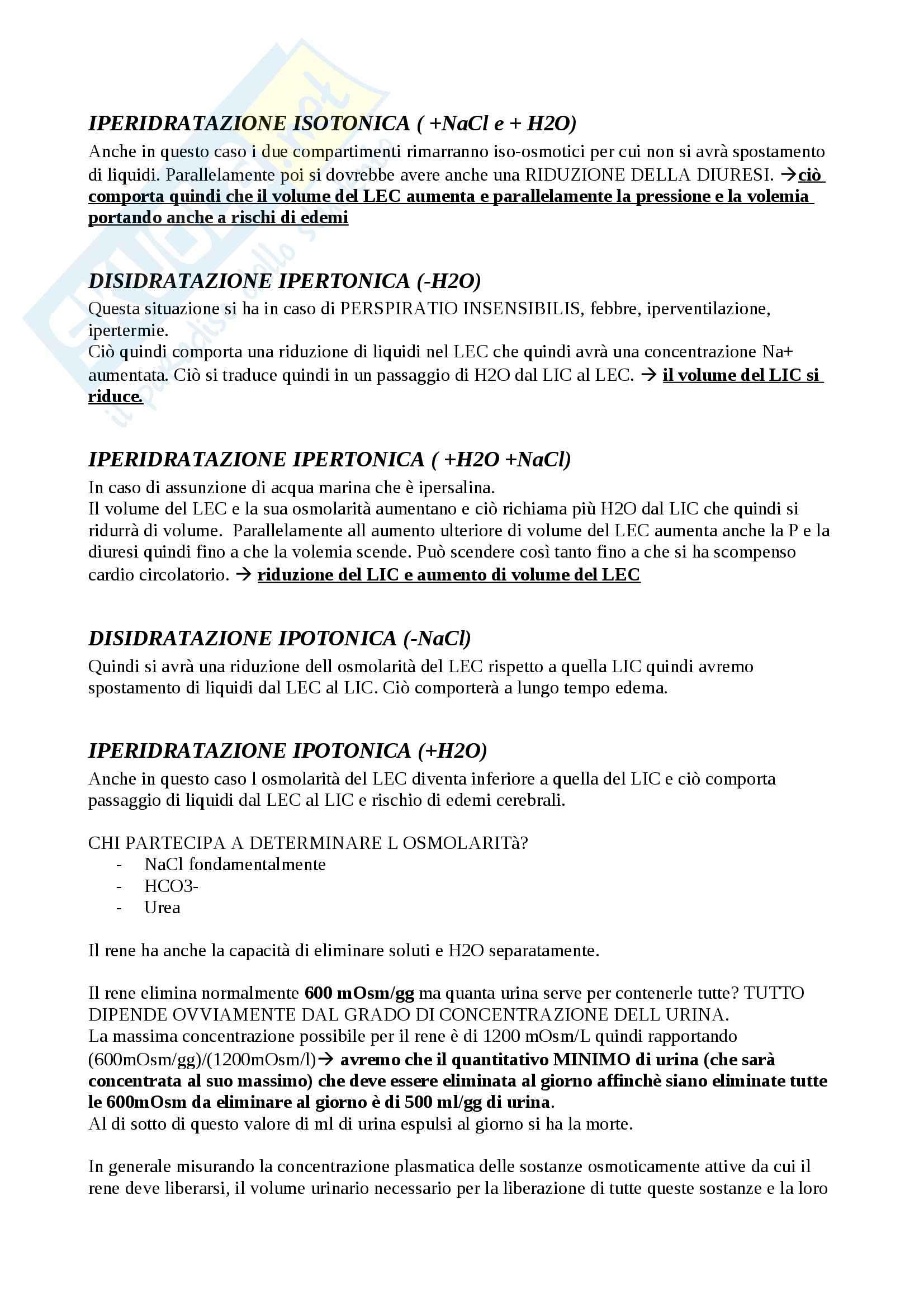 Fisiologia del sistema renale, Fisiologia Pag. 11