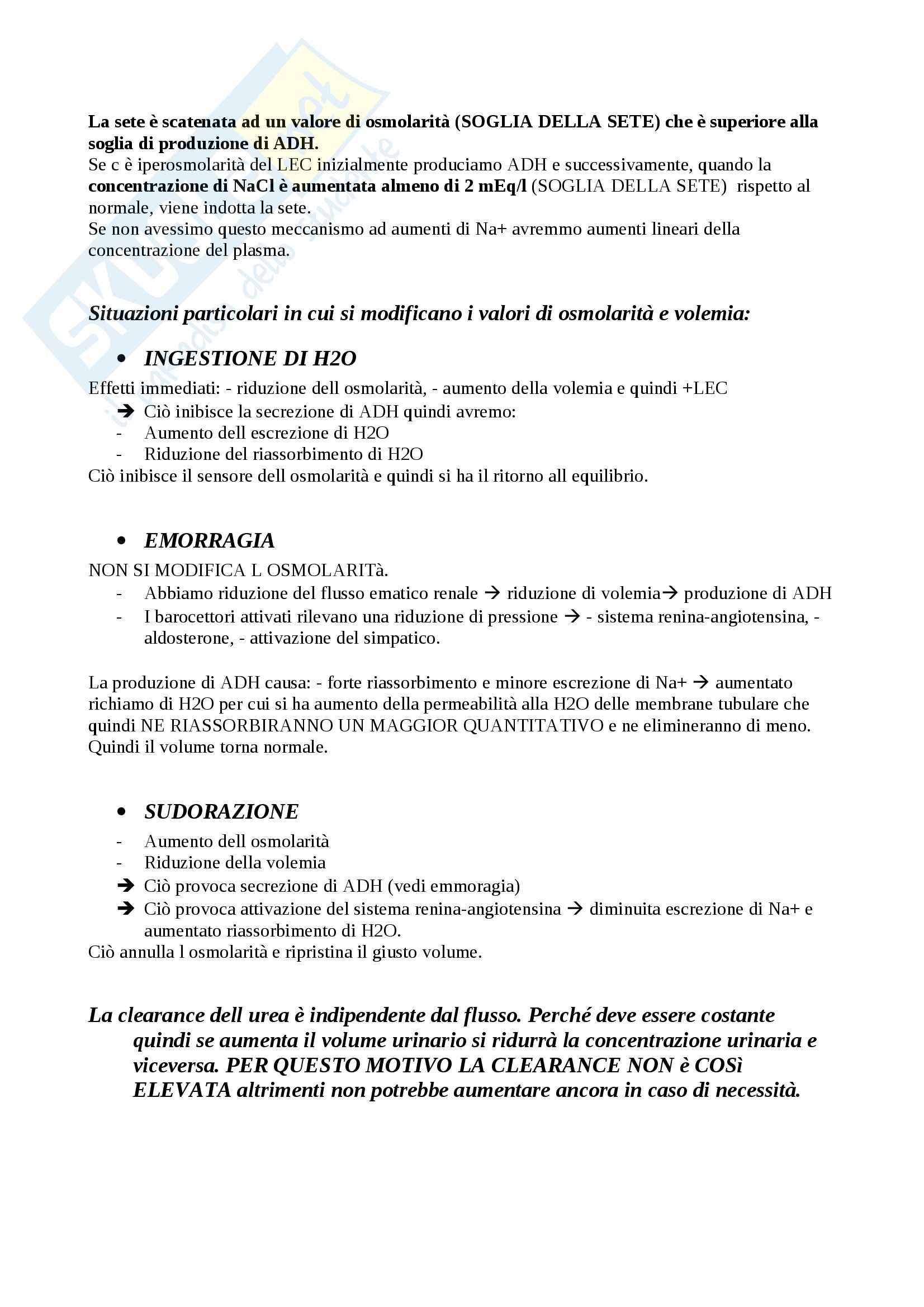 Fisiologia del sistema renale, Fisiologia Pag. 16