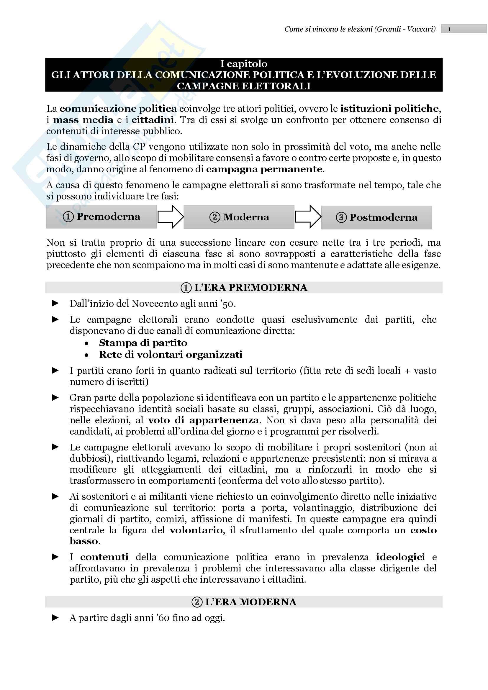 """Riassunto esame Comunicazione Politica, prof. Grandi, libro consigliato """"Come si vincono le elezioni"""", Grandi e Vaccari"""