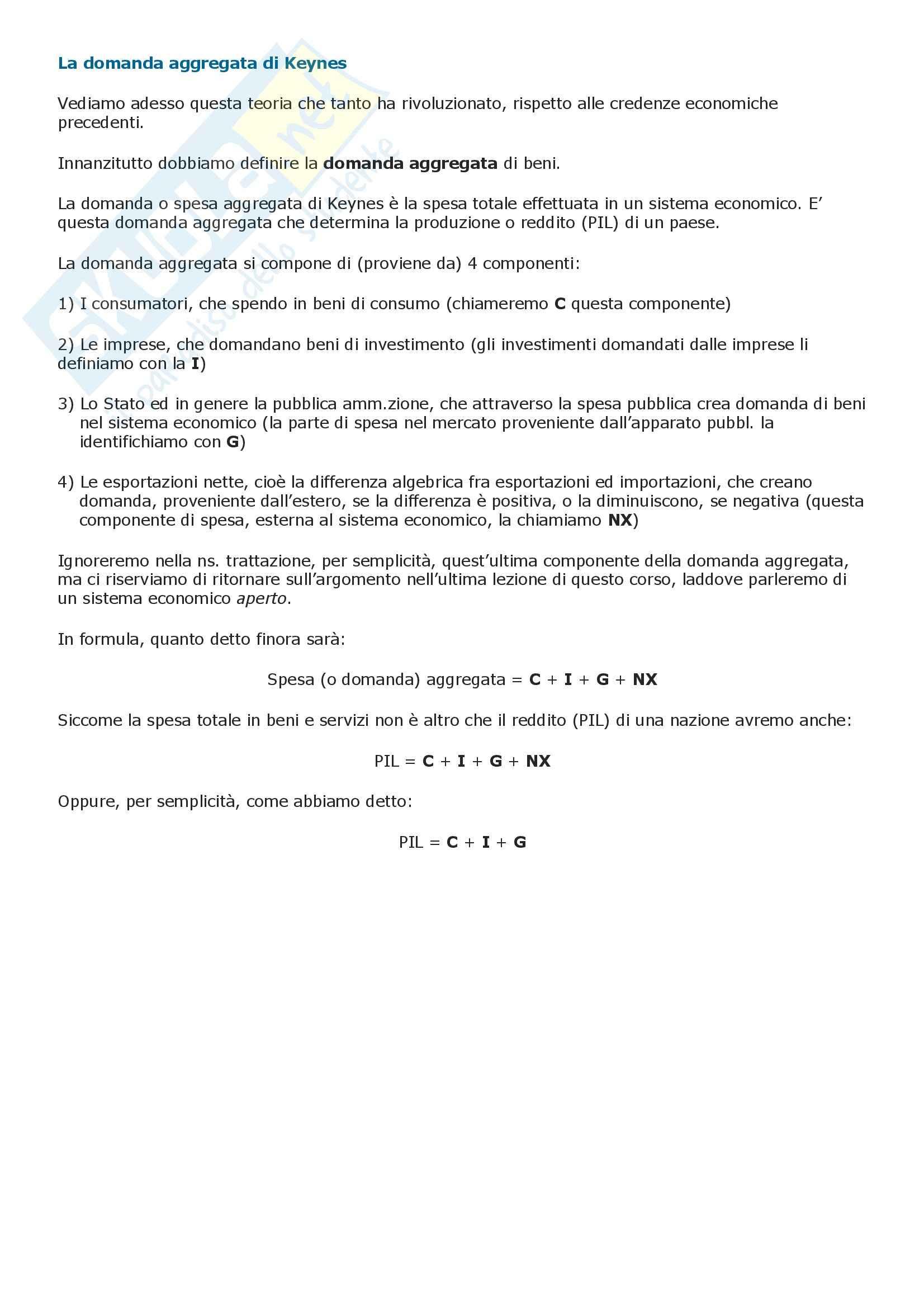 Macroeconomia e teoria Keynesiana della domanda aggregata Pag. 2