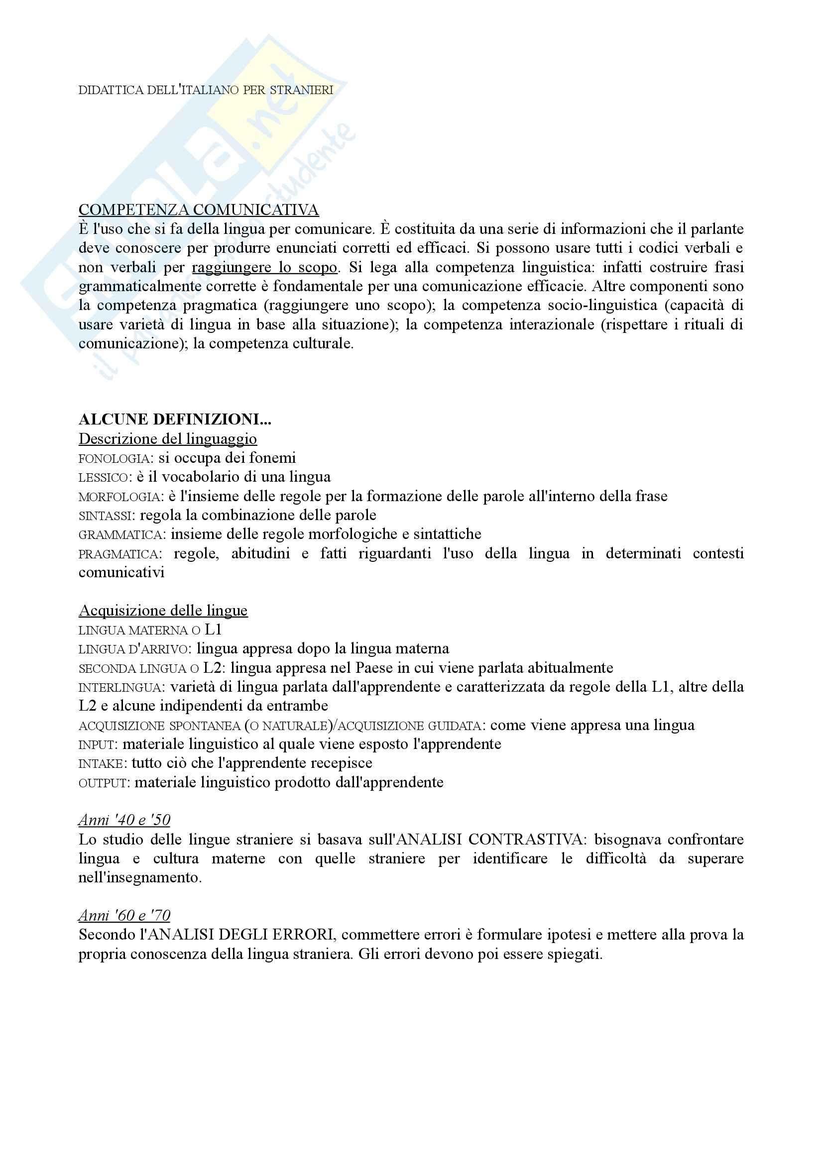 Riassunto esame Didattica dell'italiano per stranieri, prof. Peyronel, libro consigliato La seconda lingua, Pallotti