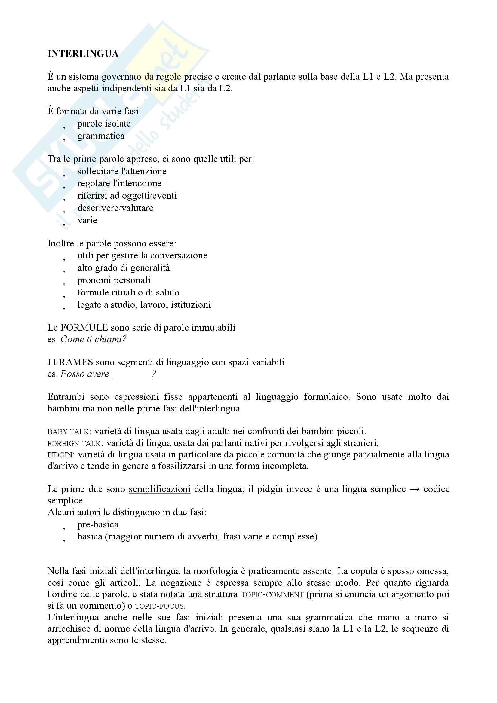 Riassunto esame Didattica dell'italiano per stranieri, prof. Peyronel, libro consigliato La seconda lingua, Pallotti Pag. 2