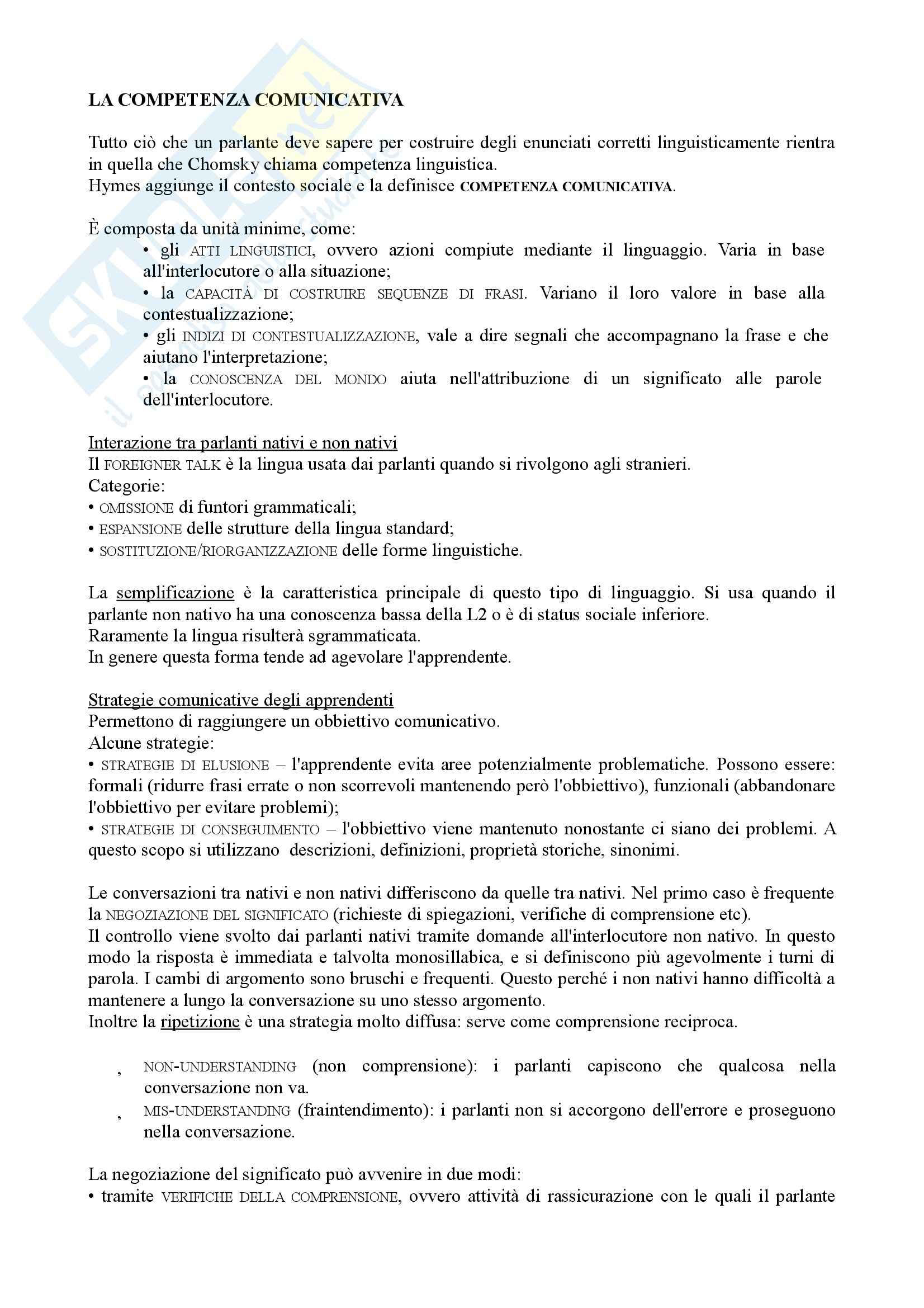 Riassunto esame Didattica dell'italiano per stranieri, prof. Peyronel, libro consigliato La seconda lingua, Pallotti Pag. 6