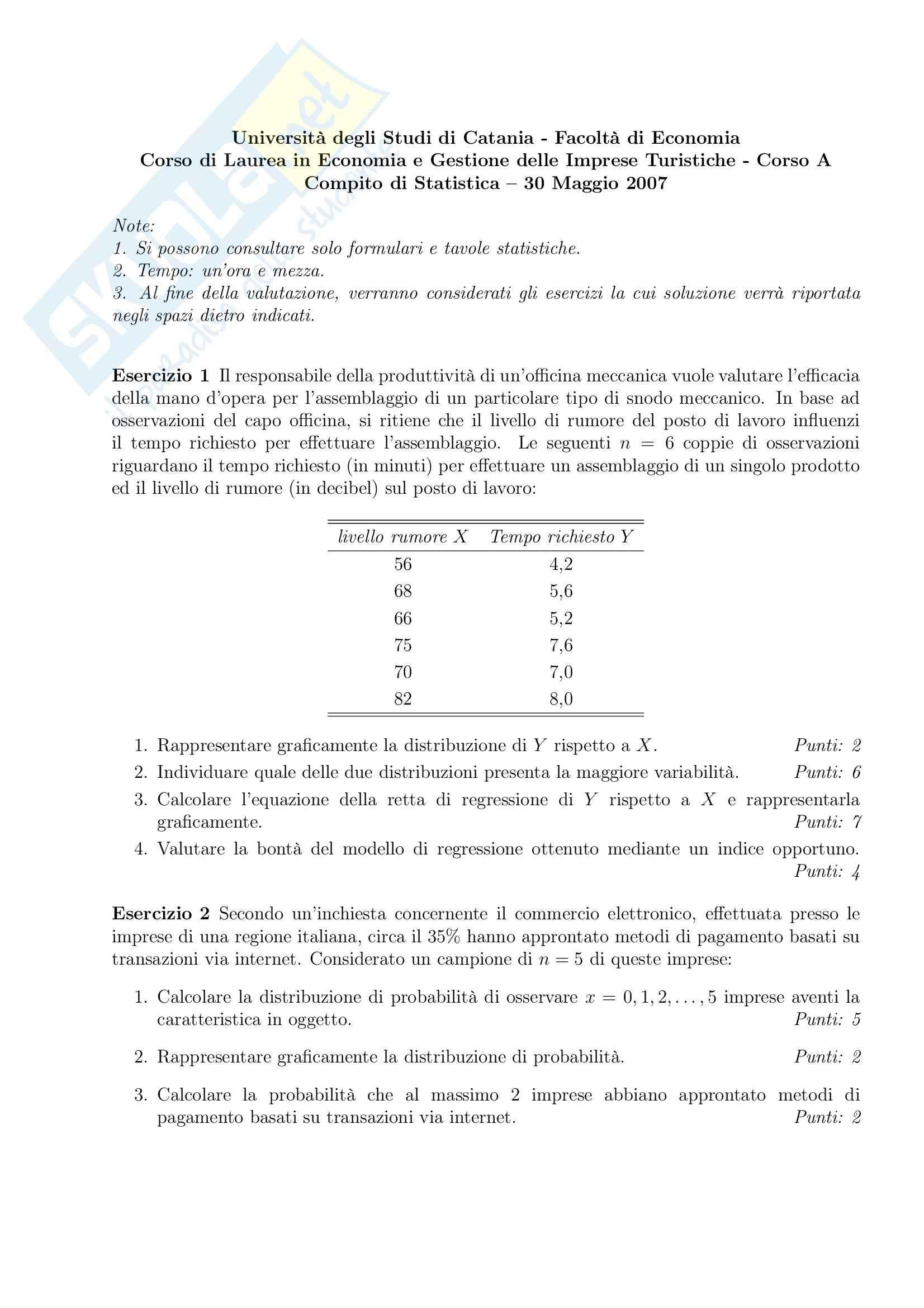 Statistica - Esercitazioni