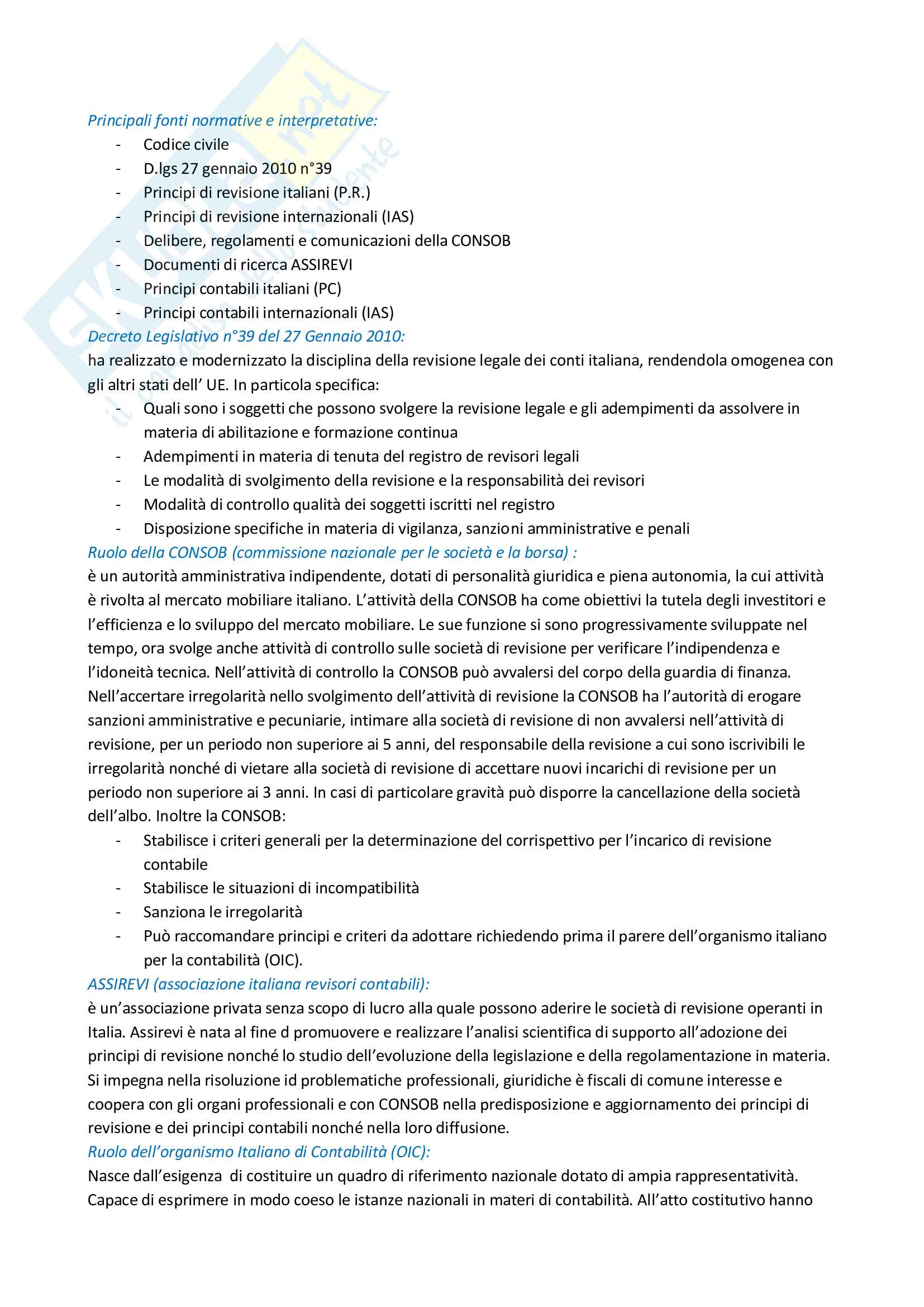 Riassunto esame Revisione aziendale, prof. Mariani, libro consigliato La revisione legale dei conti, Cadeddu, Portalupi Pag. 2