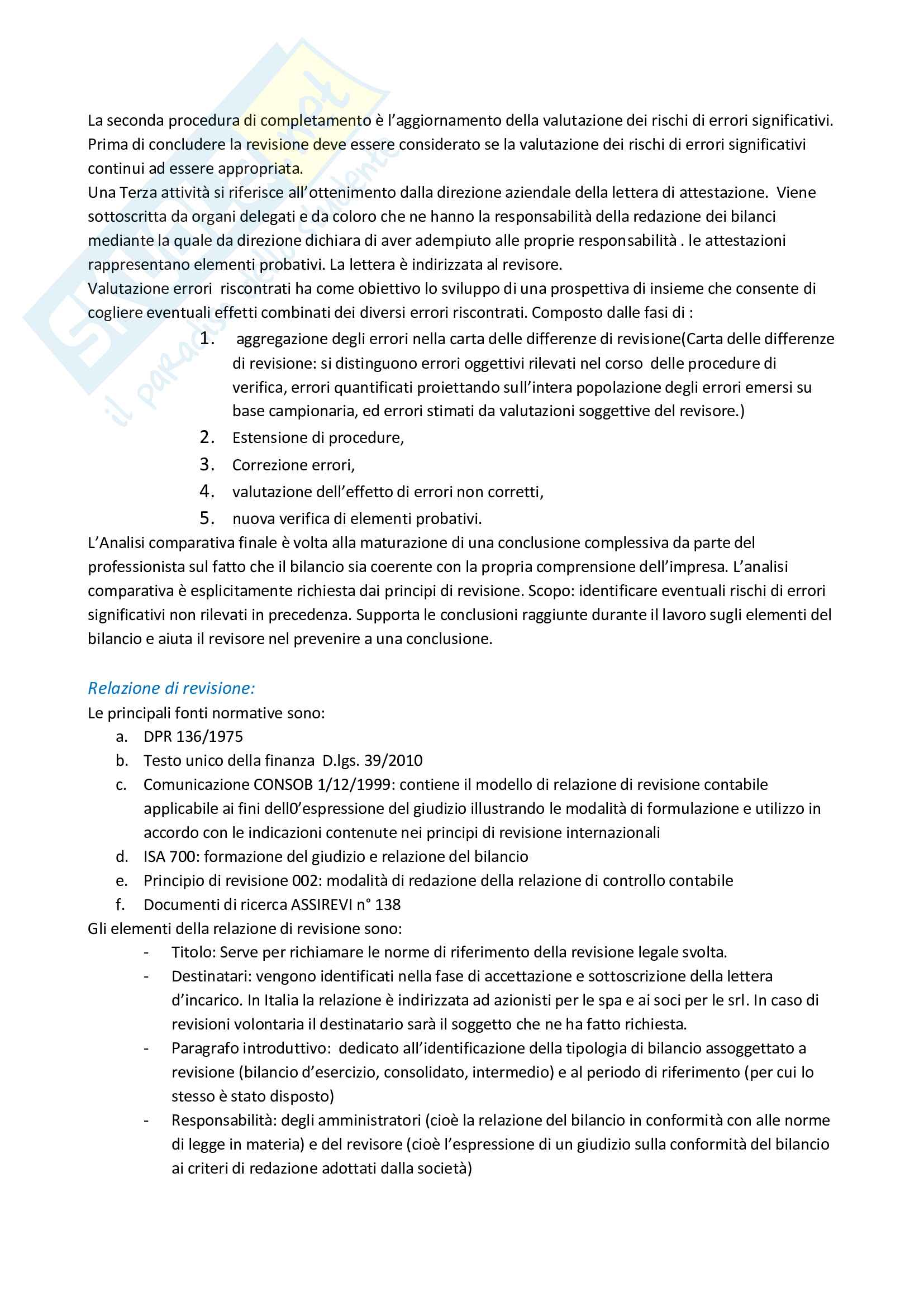 Riassunto esame Revisione aziendale, prof. Mariani, libro consigliato La revisione legale dei conti, Cadeddu, Portalupi Pag. 26
