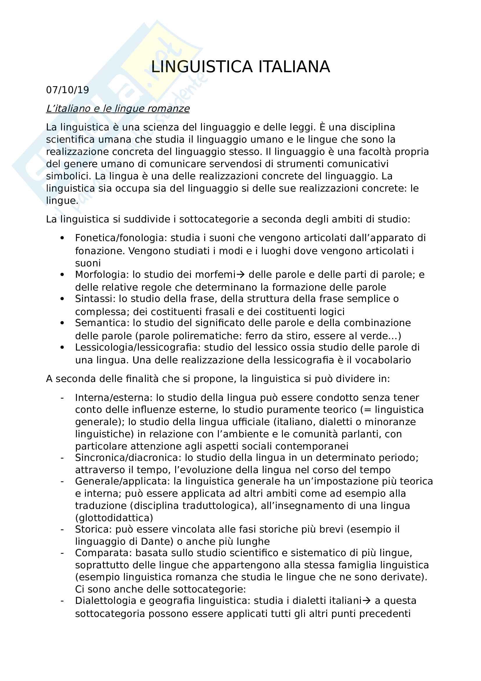 Linguistica Italiana - prof Luca Bellone