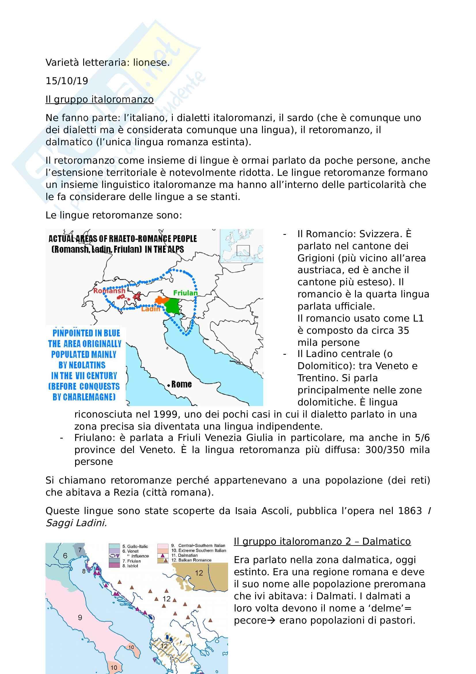 Linguistica Italiana - prof Luca Bellone Pag. 11