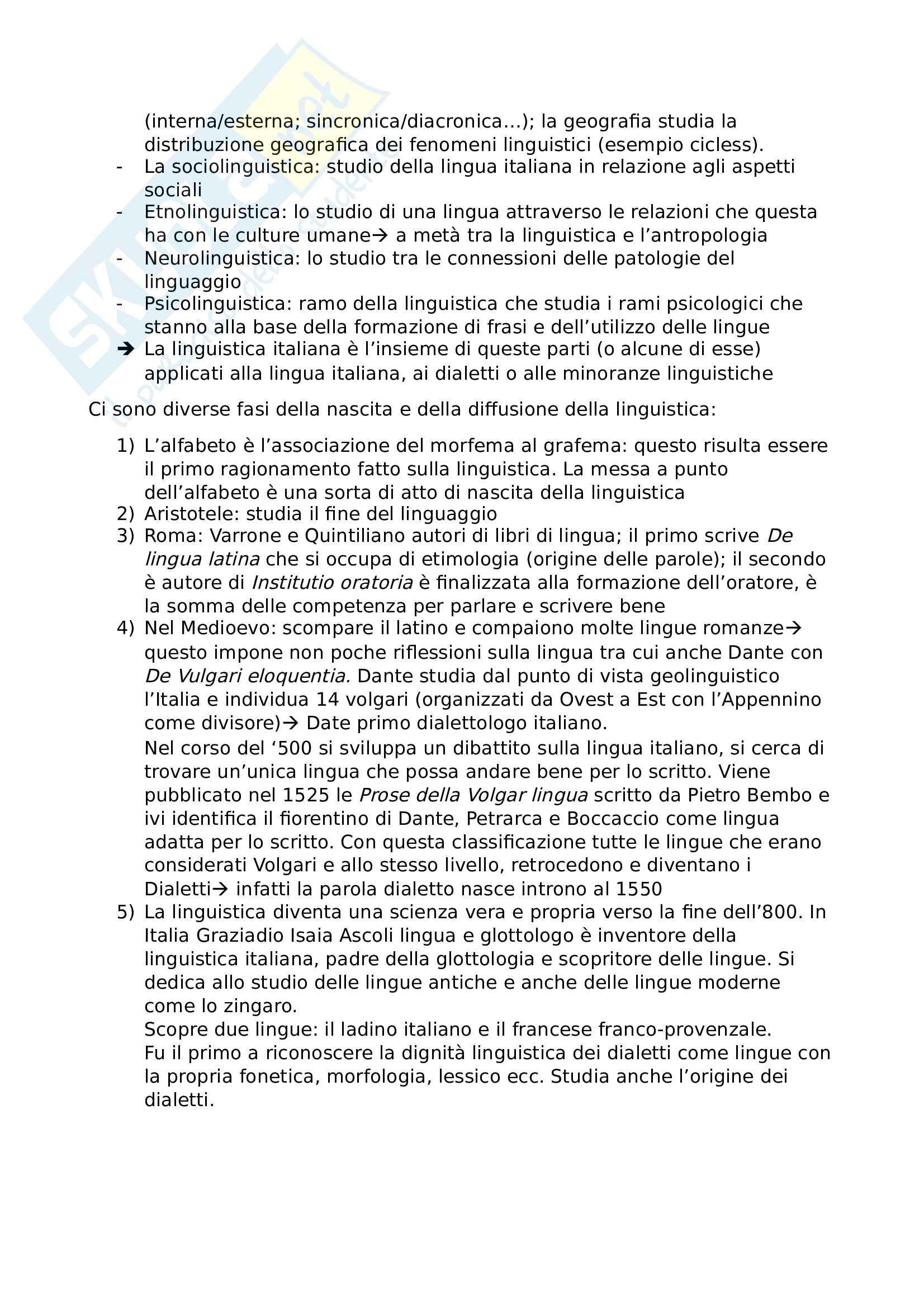 Linguistica Italiana - prof Luca Bellone Pag. 2