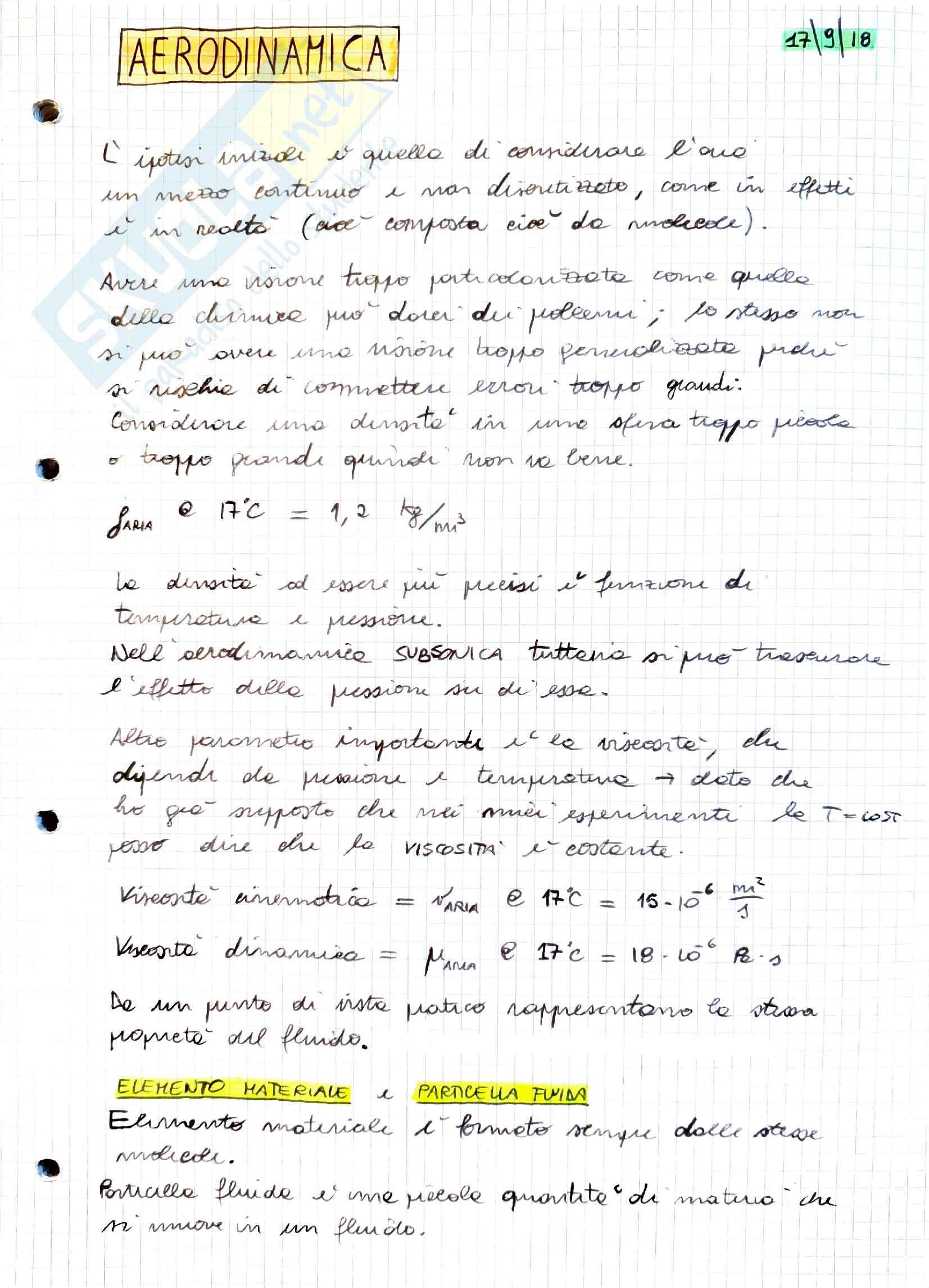 Appunti Aerodinamica Parte I, prof. Stalio