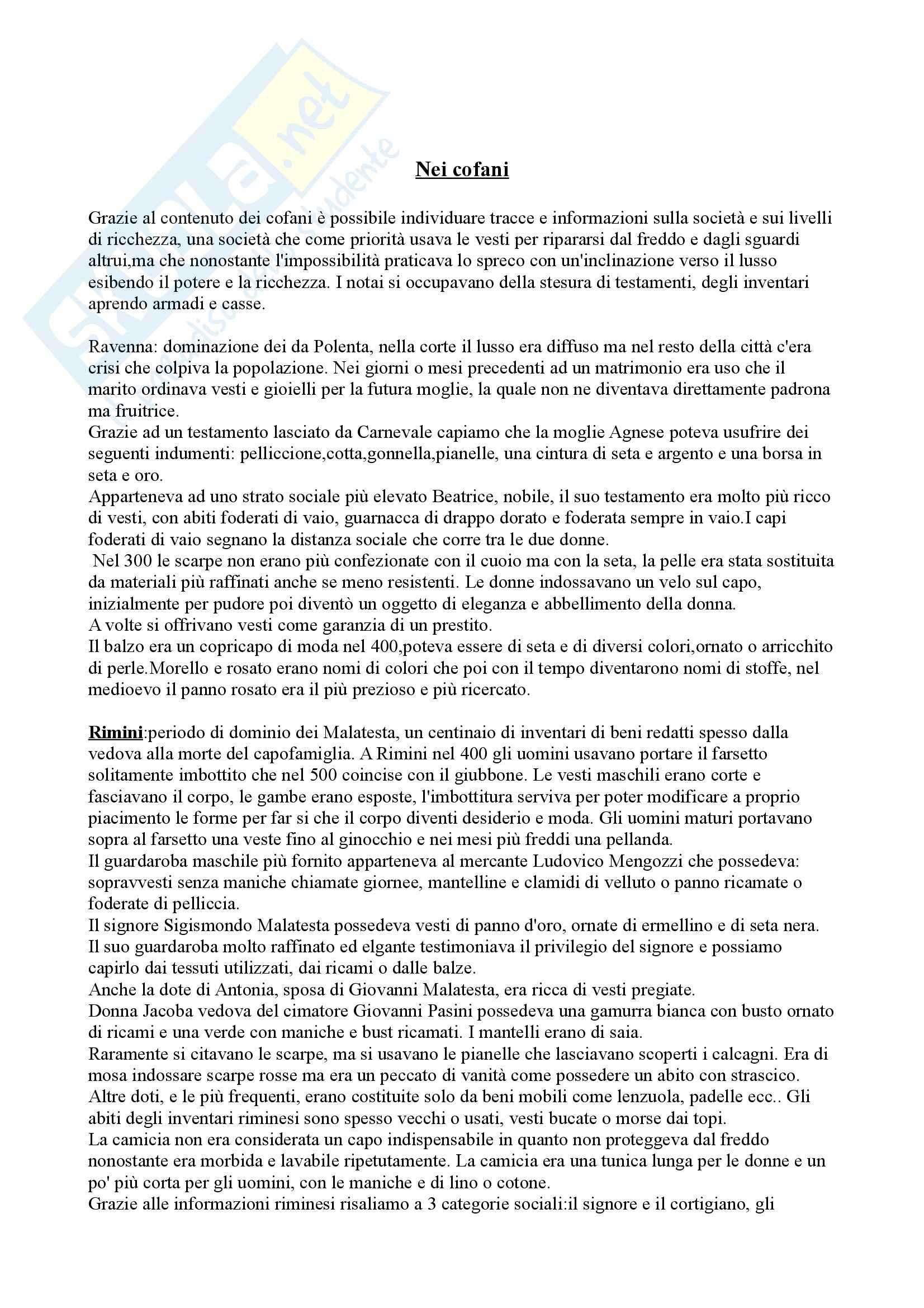 Riassunto esame Storia della moda, prof. Muzzarelli, libro consigliato Guardaroba medievale, Muzzarelli