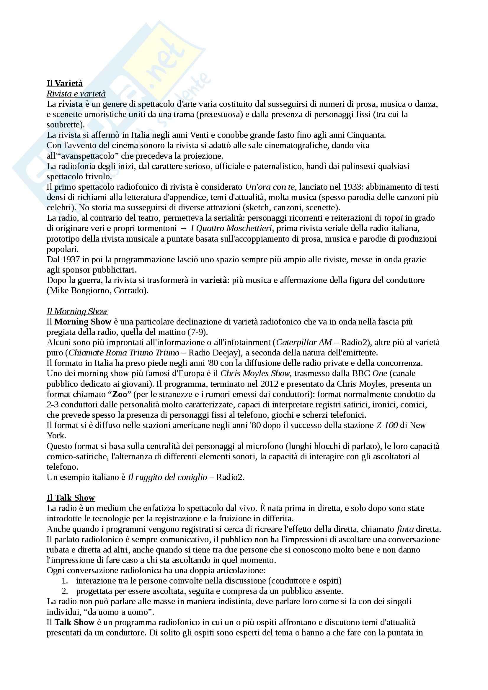 Riassunto esame Laboratorio di Comunicazione Radiofonica, prof. Bonini, libro consigliato Chimica della Radio di Bonini