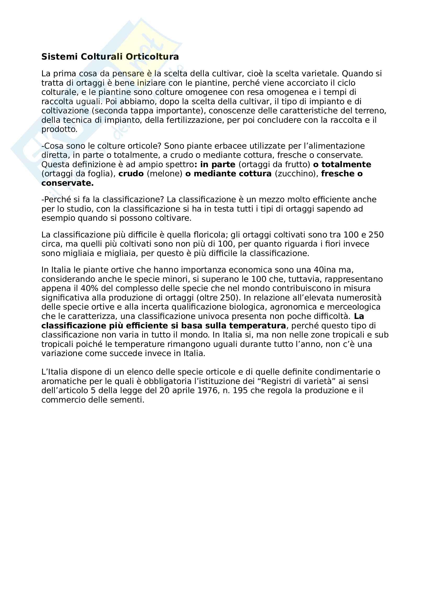 Sistemi ortofloricoli - Sistemi Colturali Orticoli