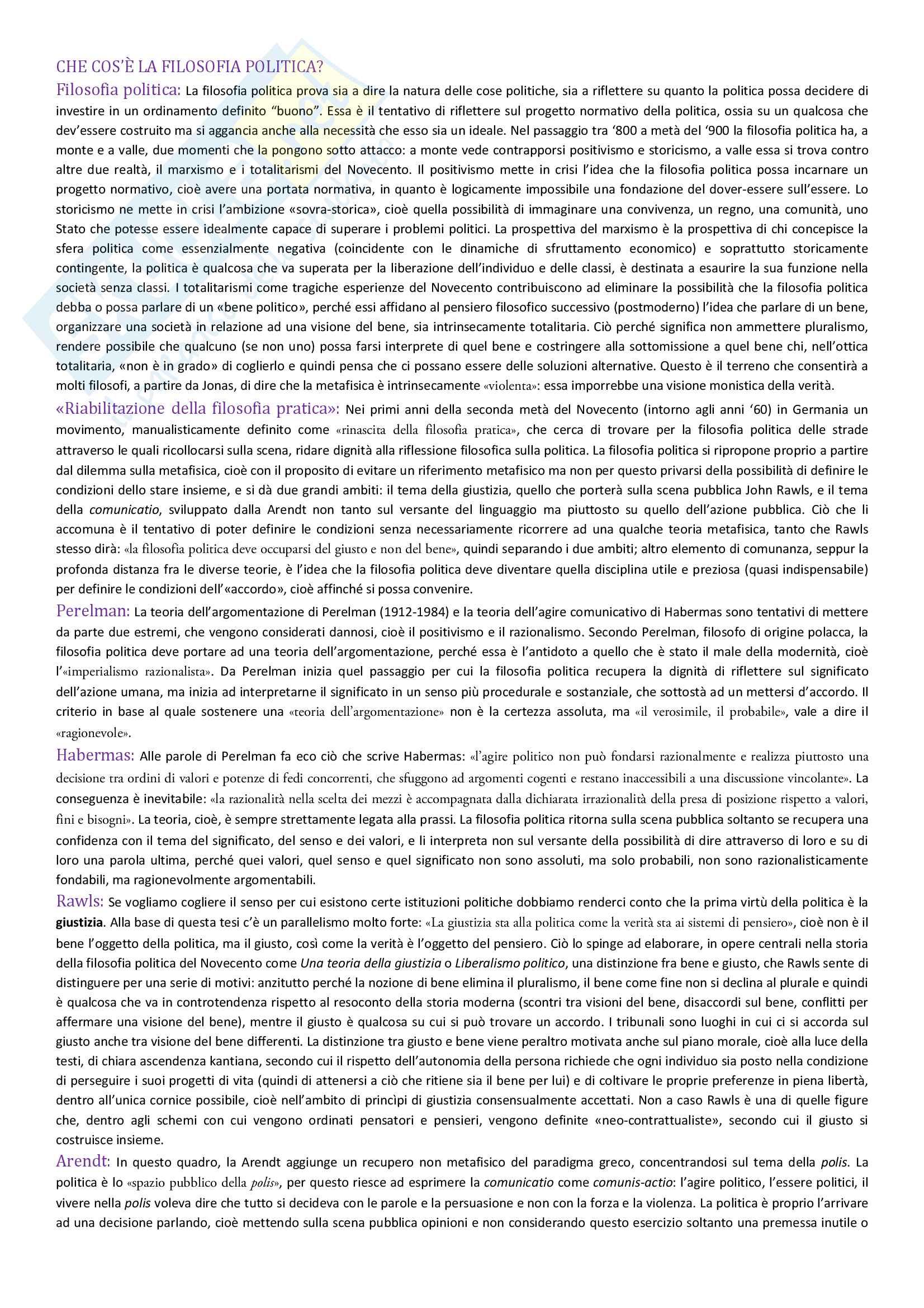 Istituzioni di Filosofia Politica, Appunti - Luca Alici
