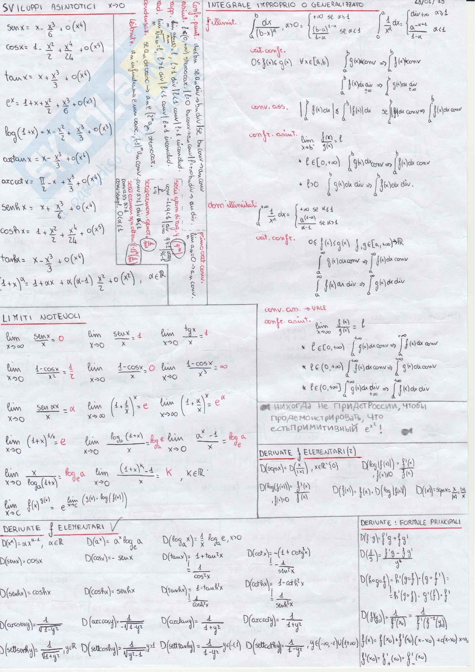 Formulario completo analisi 1