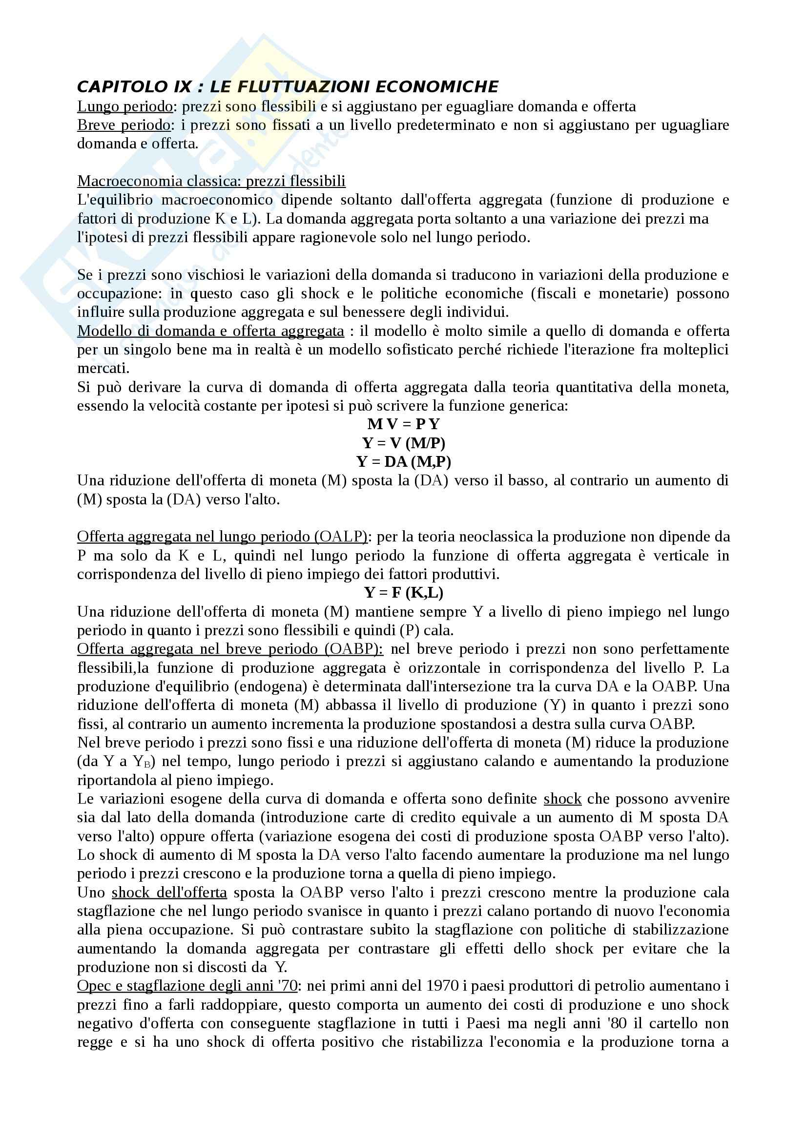 Macroeconomia - Appunti II° Parziale