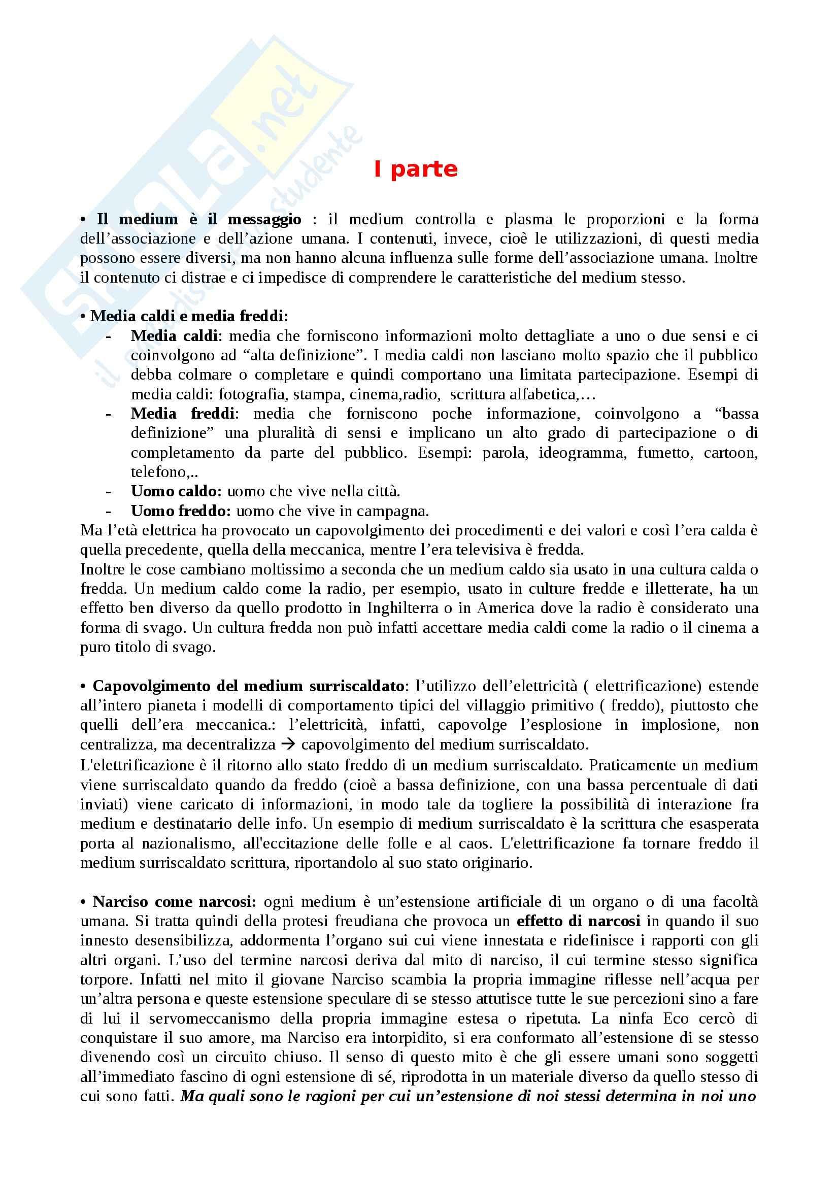 mcluhan gli strumenti del comunicare  Riassunto esame Storia dei Media, prof. Scaglioni, libro consigliato ...