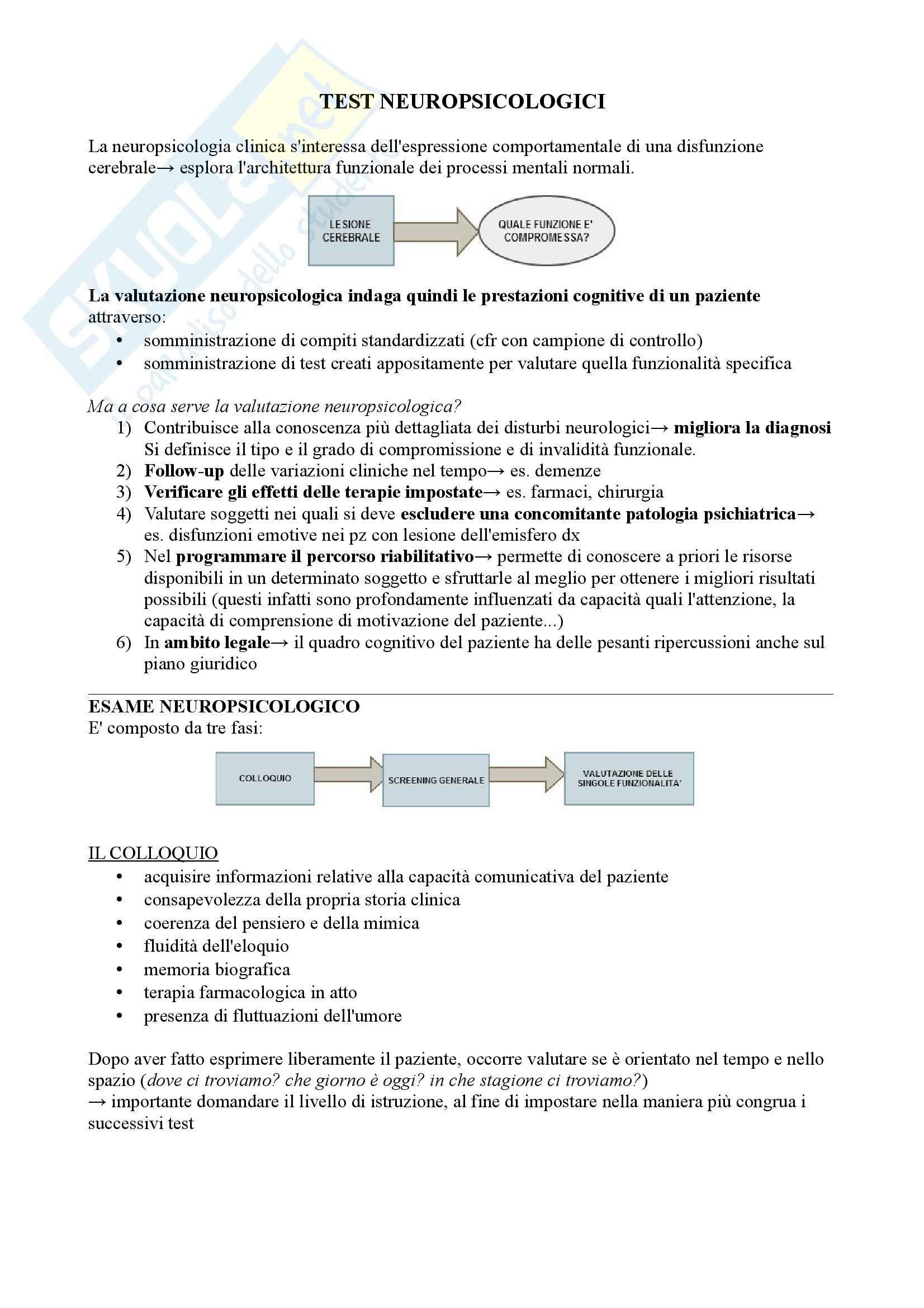 Riassunto esame Neurologia, Prof. Pinessi, Libro consigliato Il Bergamini di Neurologia, Bergamini: Test neuropsicologici