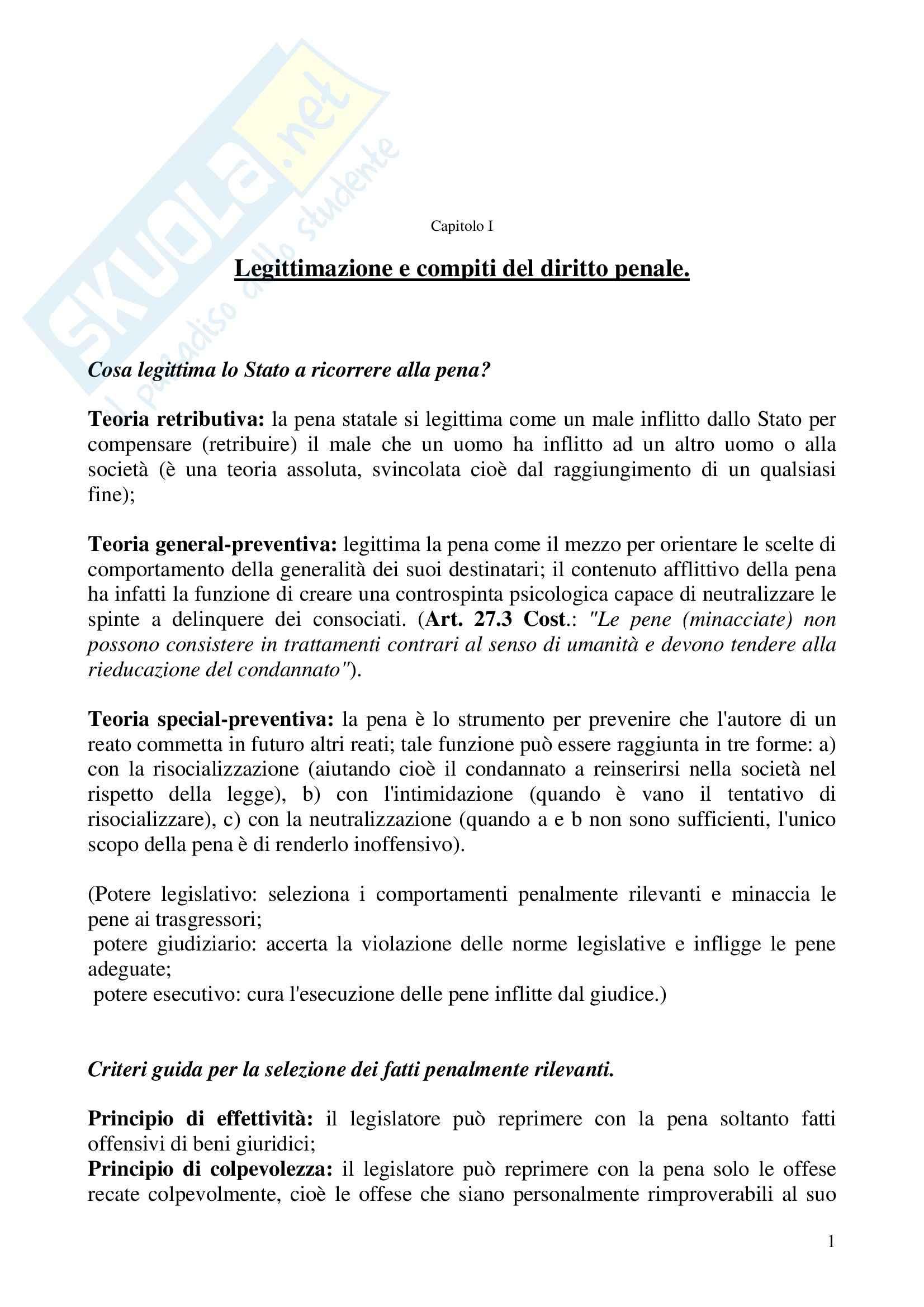 Riassunto esame Diritto penale, prof. Mucciarelli, libro consigliato Manuale di diritto penale, Marinucci, Dolcini