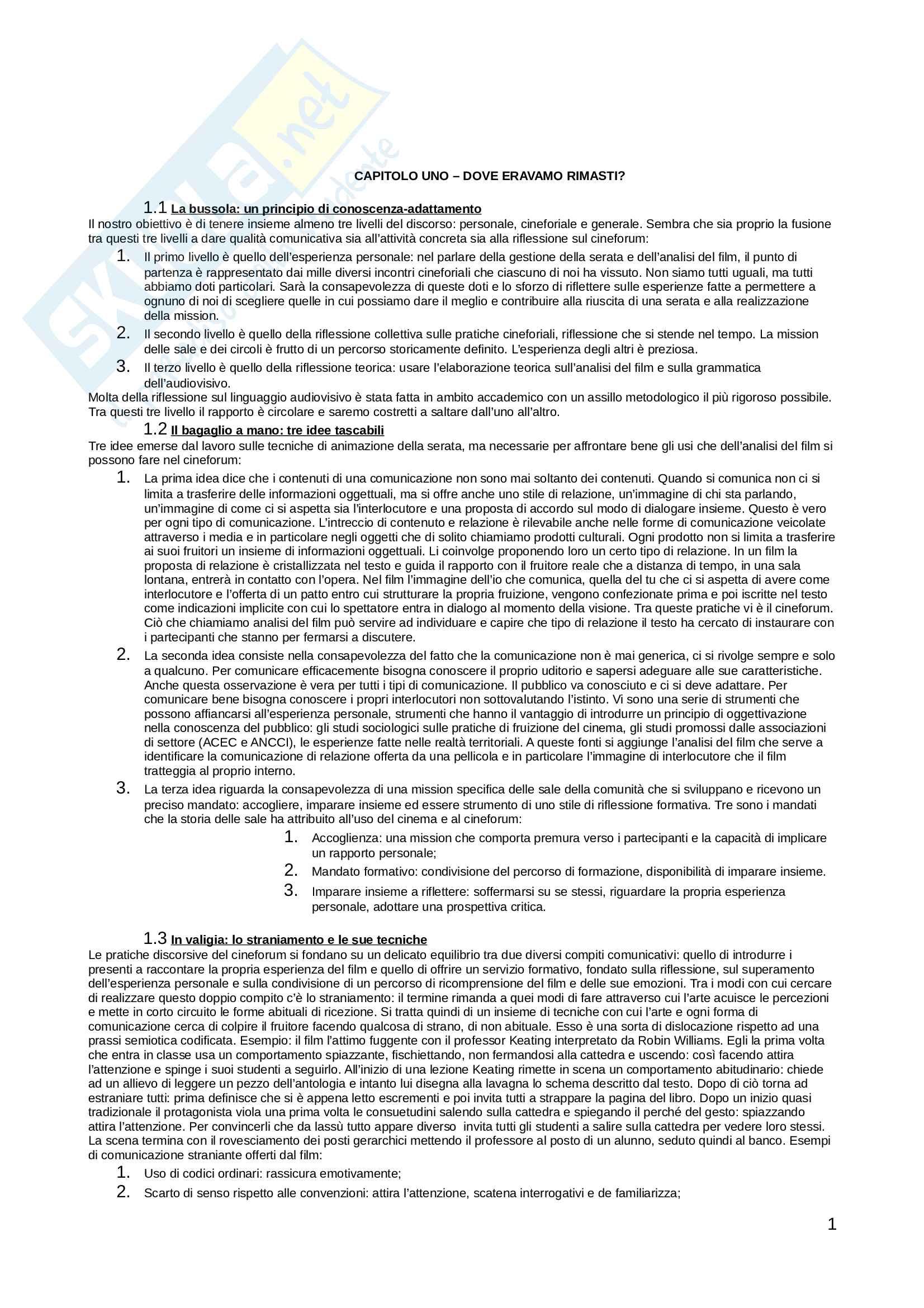 Riassunto esame Linguaggi audiovisivi, prof. Gervasini, libro consigliato Introduzione alla metodologia del cineforum, Bouriot