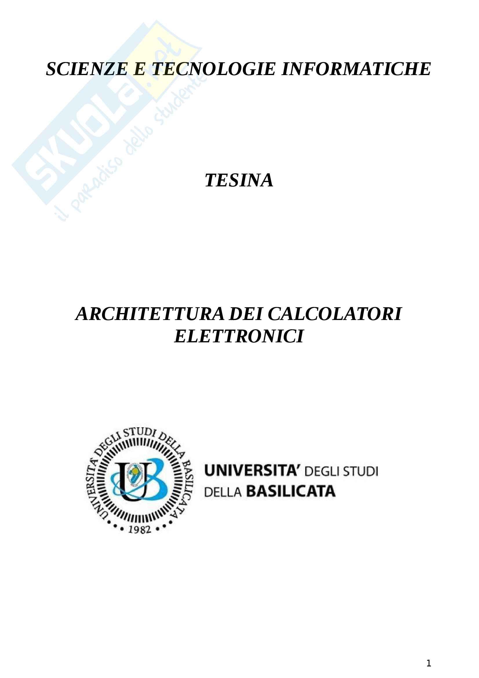 Riassunto Architettura dei calcolatori elettronici