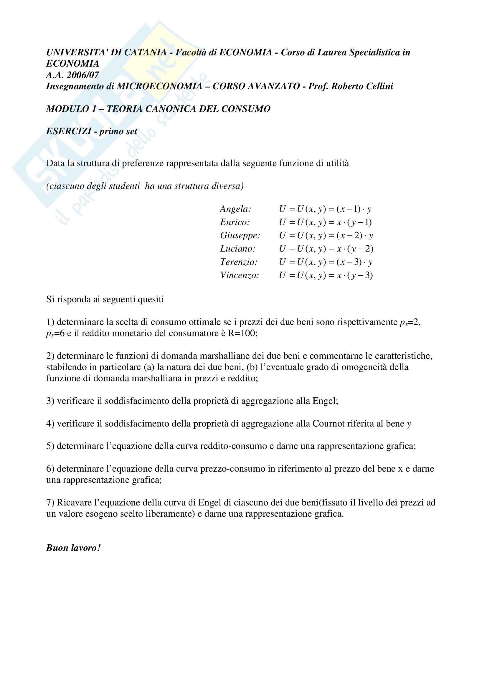 esercitazione R. Cellini Microeconomia