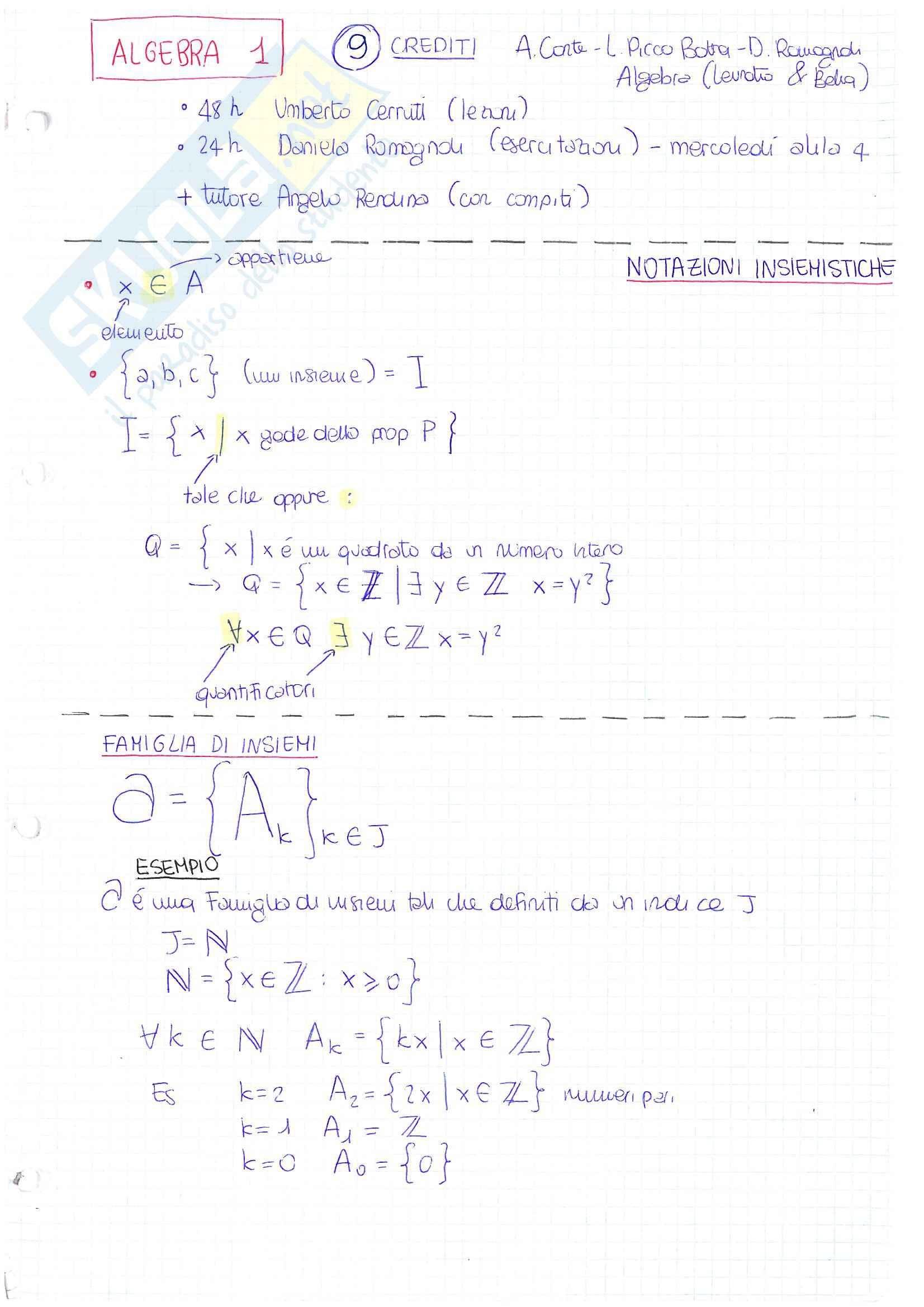 Lezioni ed esercitazioni, Algebra 1