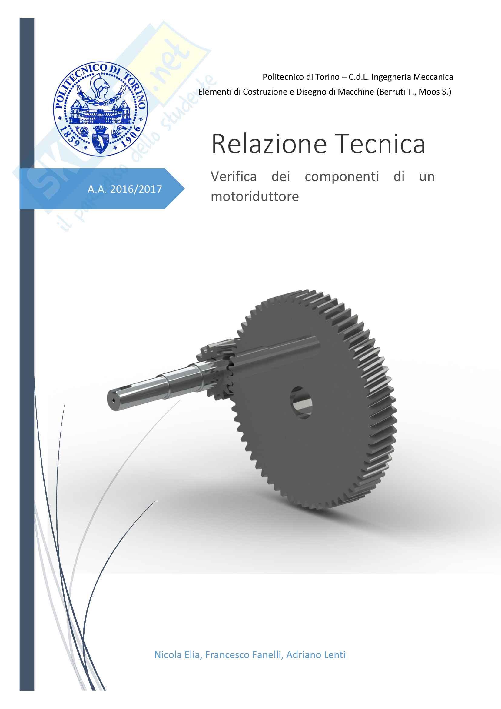 Relazione Tecnica Perfetta, Costruzione di Macchine, Berruti, Brusa