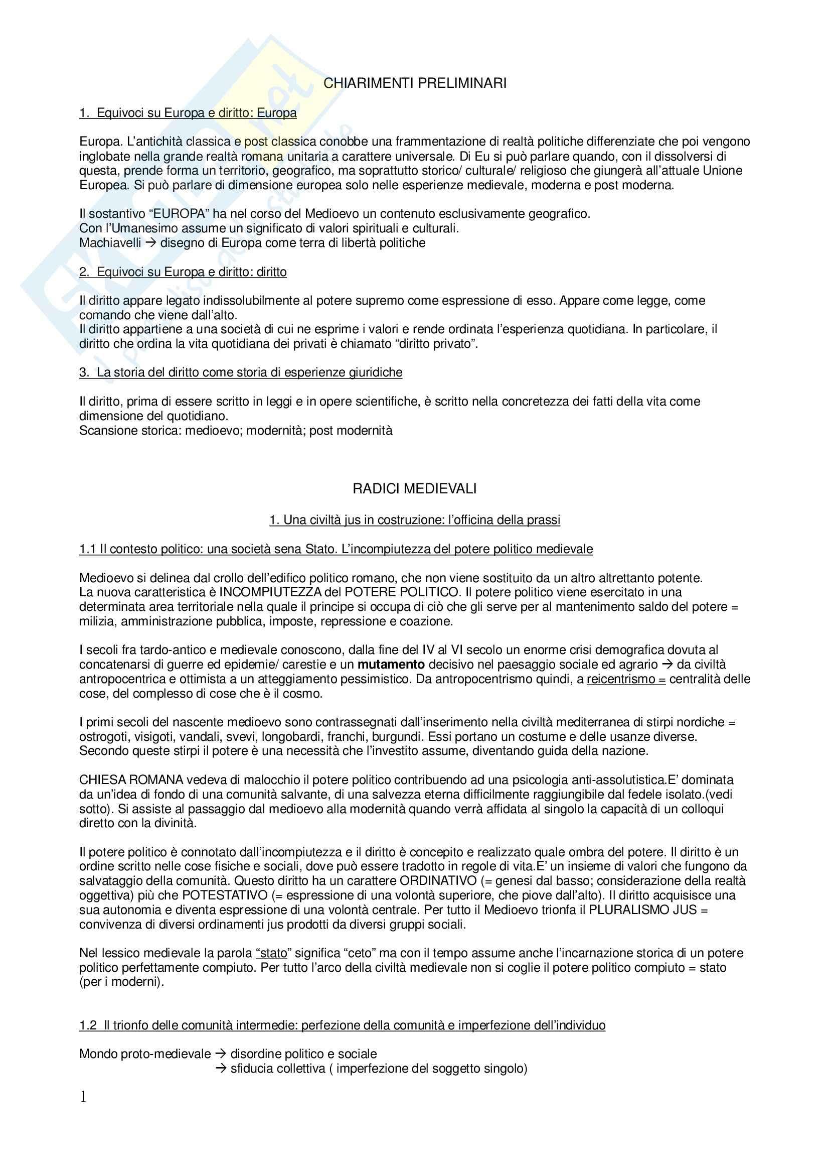 Riassunto esame Storia del Diritto Medievale e Moderno, prof. Migliorino, libro consigliato L'Europa del Diritto, Grossi