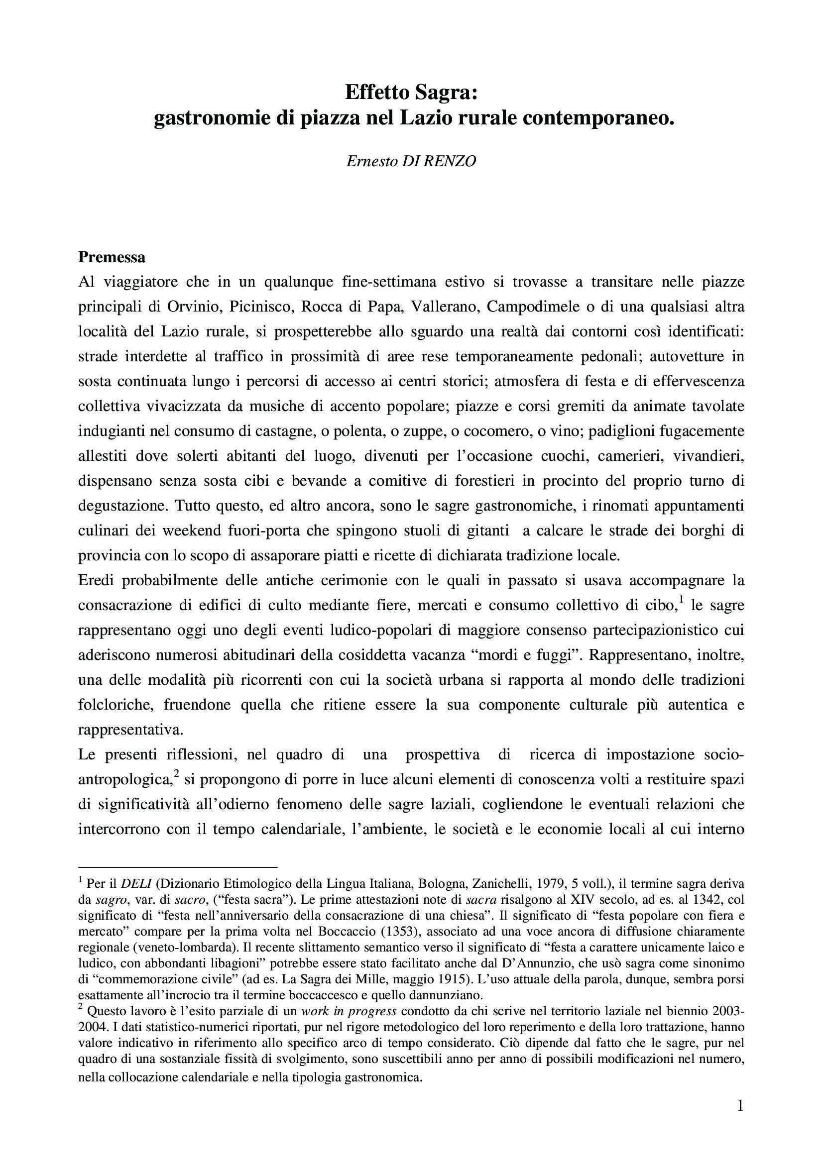 Effetto sagra - Gastronomie di piazza nel Lazio rurale contemporaneo