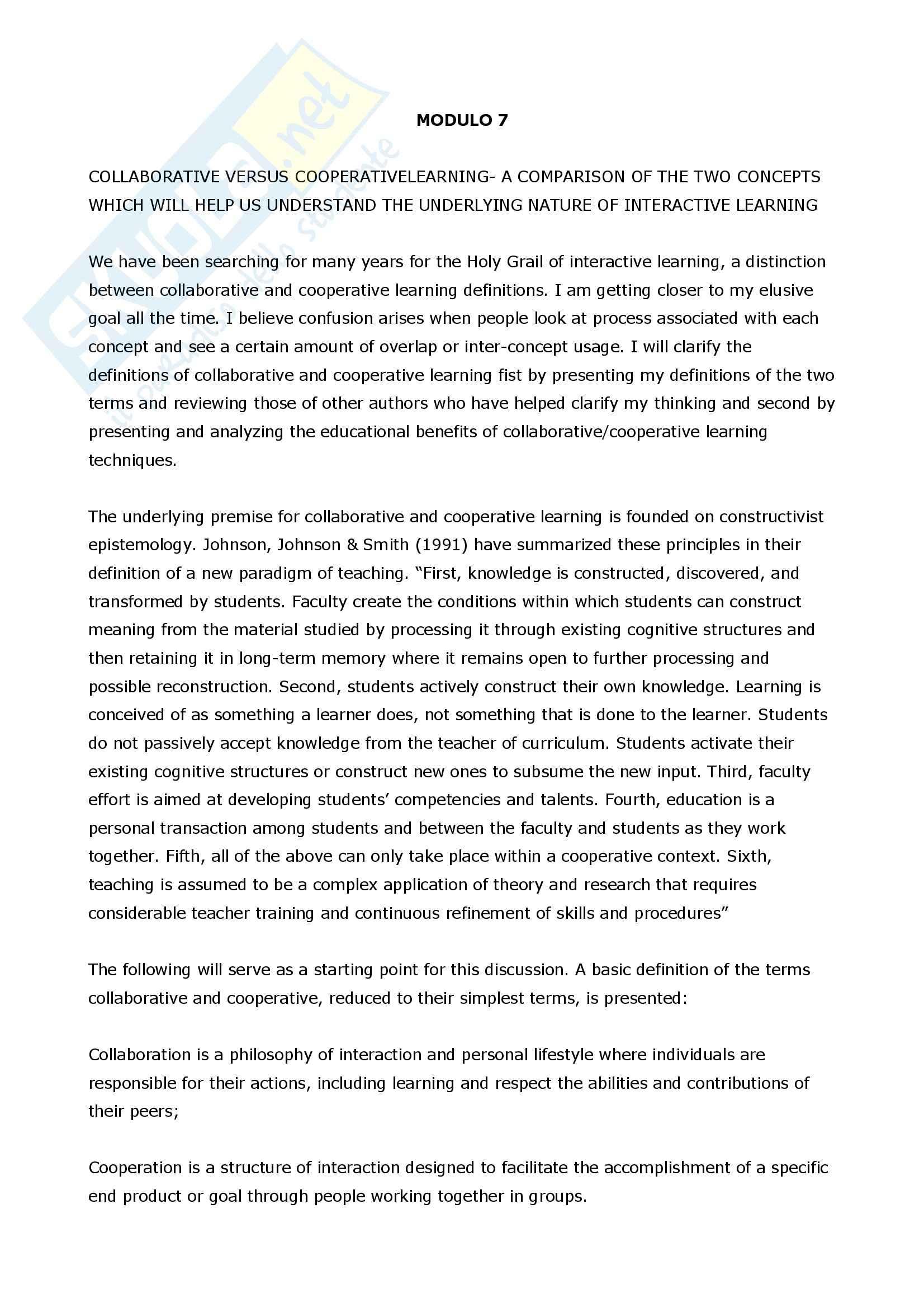 Apprendimento cooperativo e collaborativo - Confronto