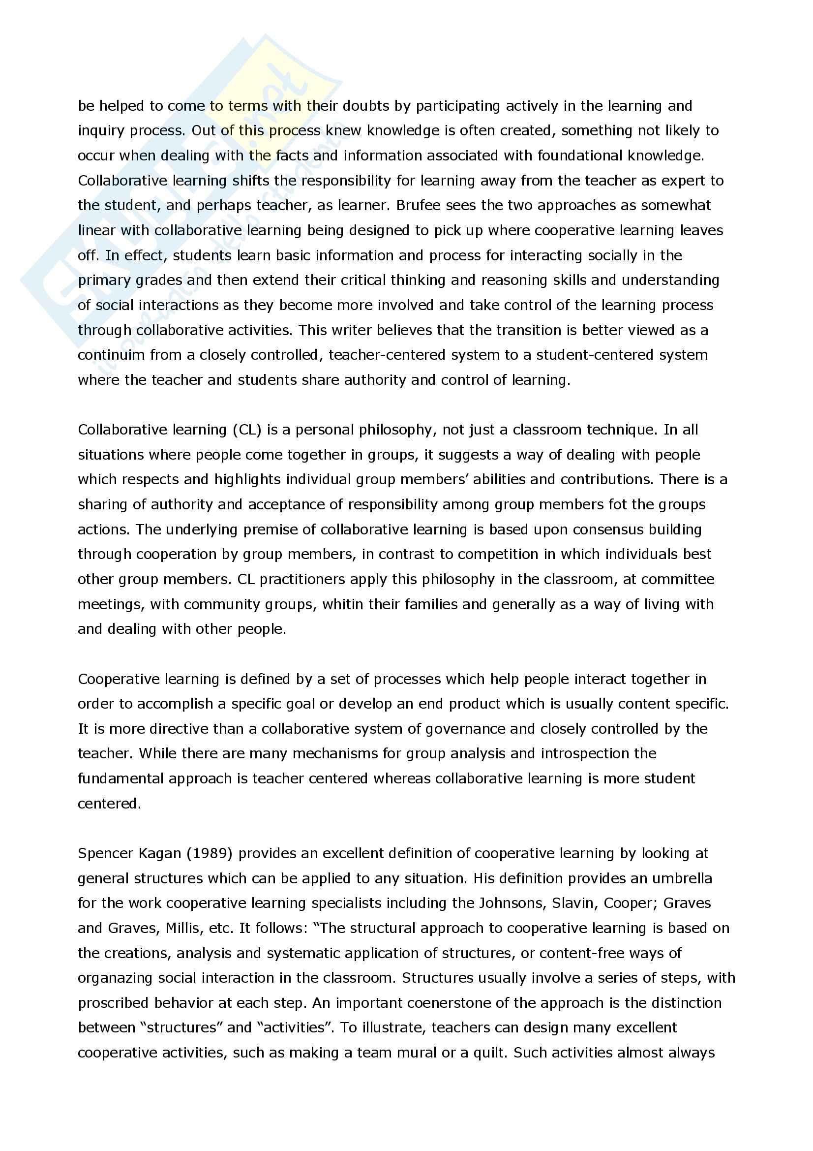 Apprendimento cooperativo e collaborativo - Confronto Pag. 6