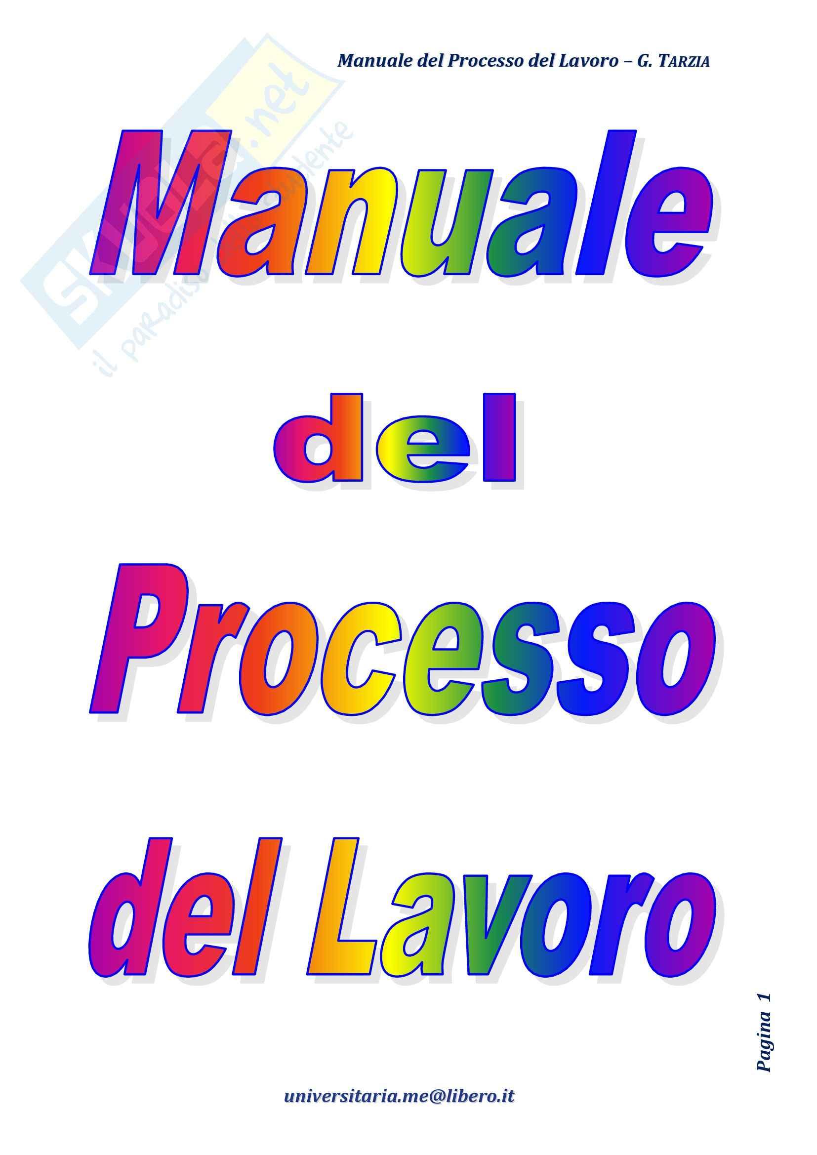 Riassunto esame Diritto Processuale Civile, Prof. Guarnieri, libro consigliato Manuale del Processo del Lavoro, Tarzia
