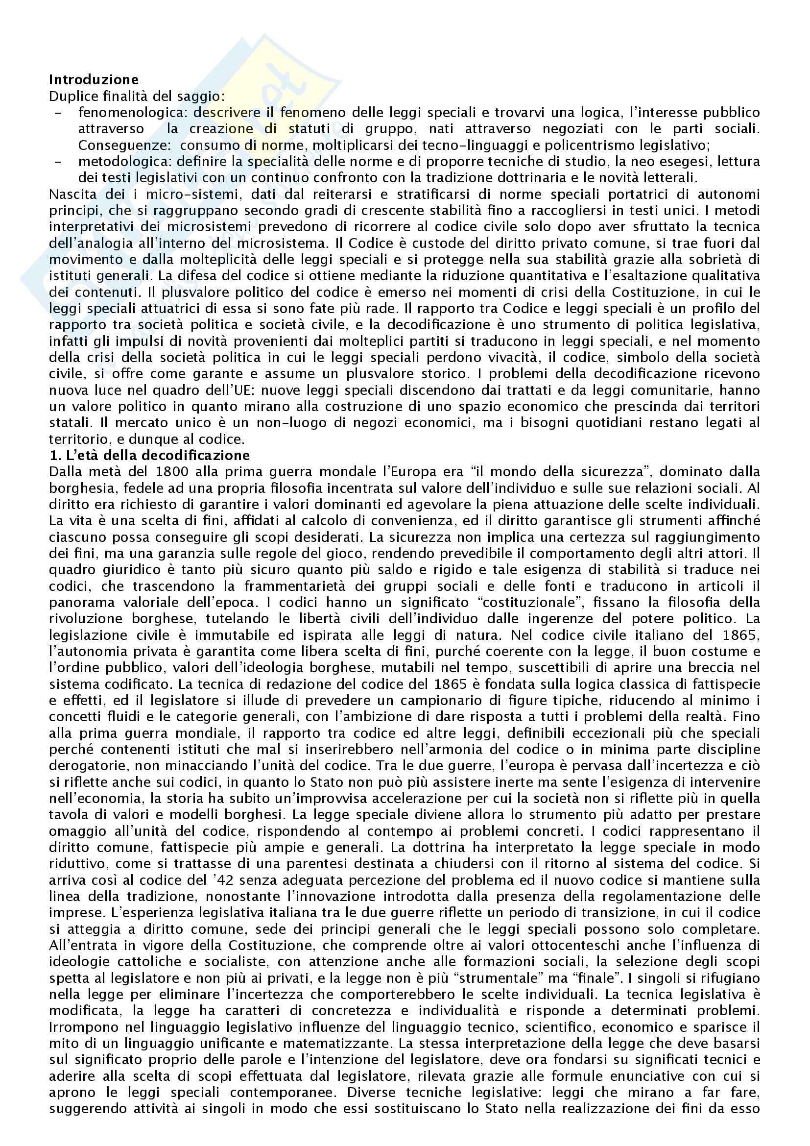 Riassunto esame Istituzioni di diritto privato 2, prof. Pasquino, libro consigliato L'età della decodificazione, Irti