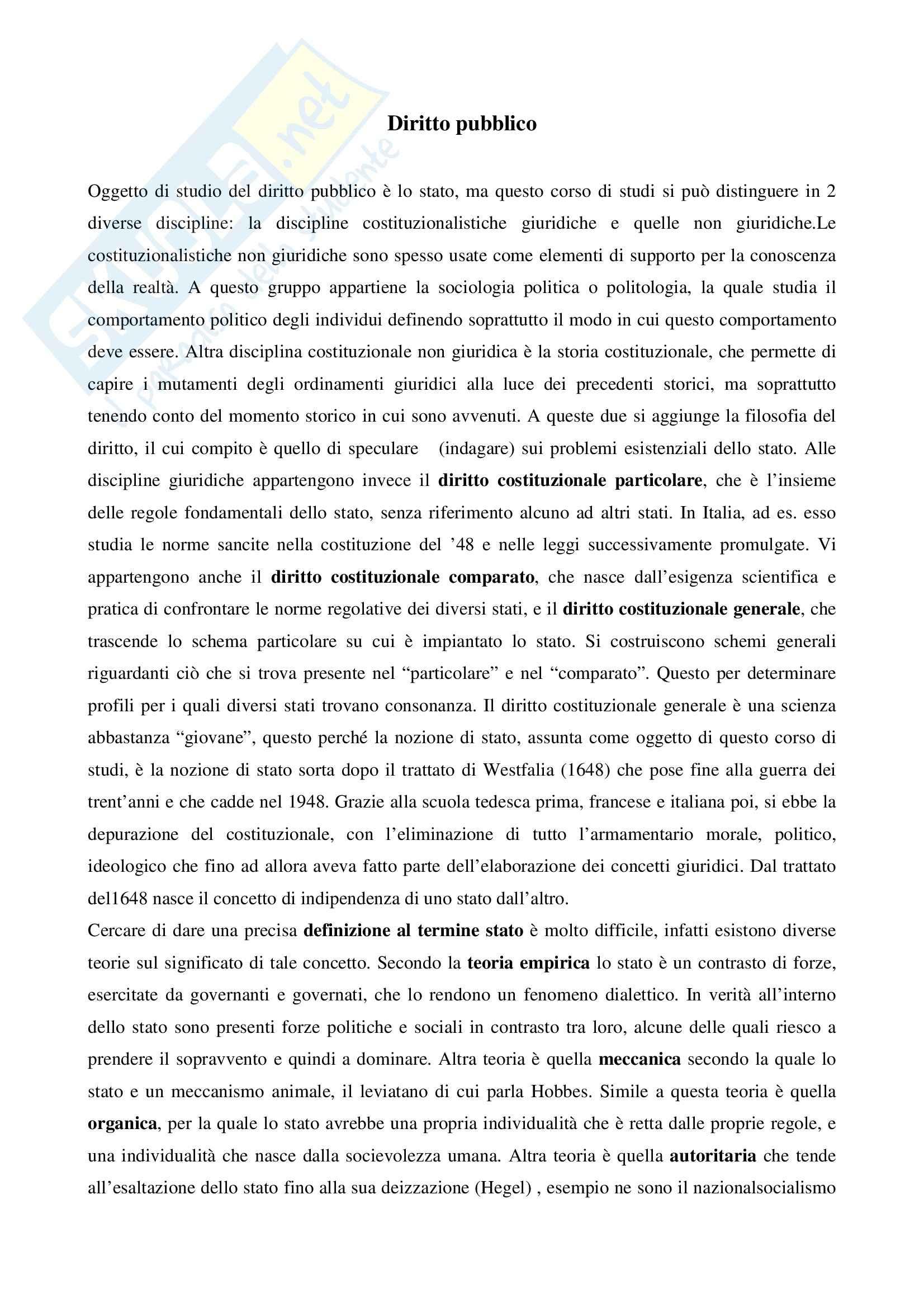 Riassunto esame Diritto pubblico, prof. Salerno, libro consigliato Diritto pubblico, Martines