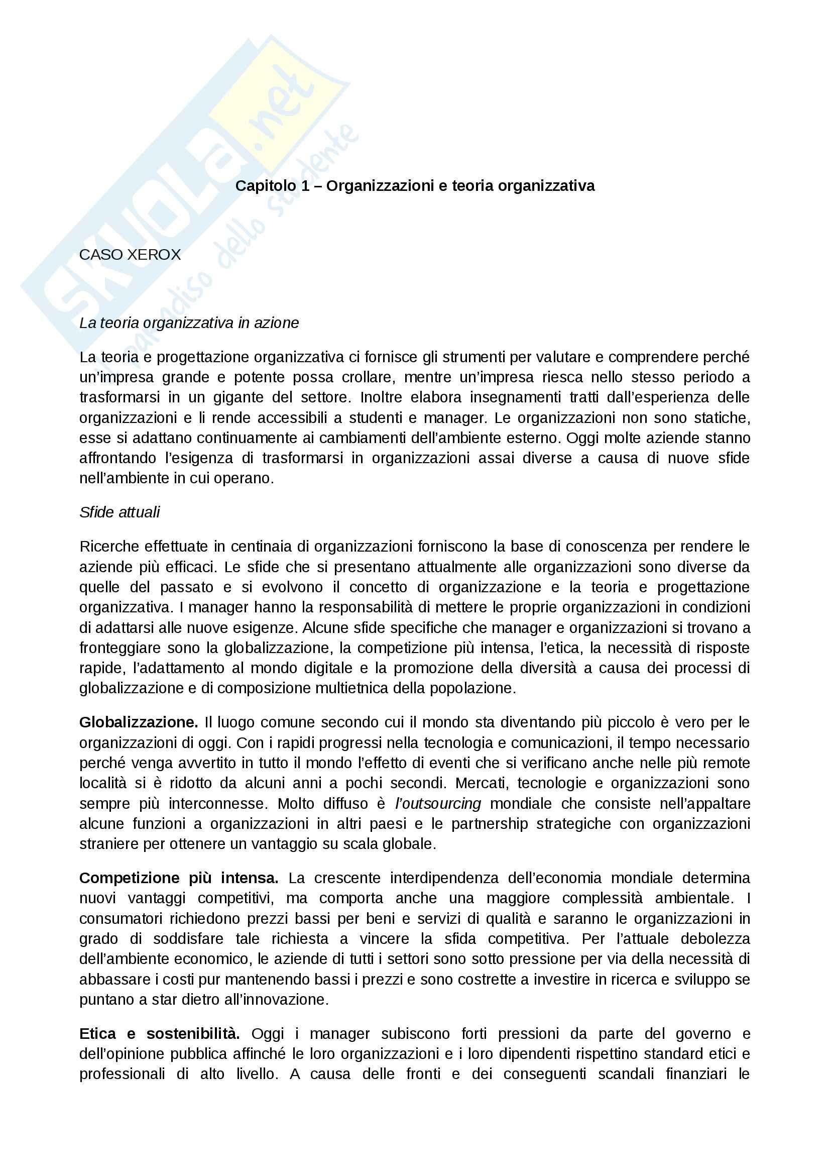 Riassunto esame Organizzazione Aziendale, prof. Manzolini, libro consigliato Organizzazione aziendale, Daft: prima parte
